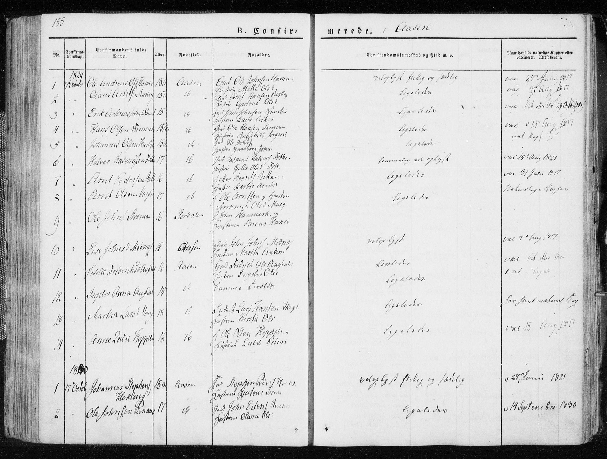 SAT, Ministerialprotokoller, klokkerbøker og fødselsregistre - Nord-Trøndelag, 713/L0114: Ministerialbok nr. 713A05, 1827-1839, s. 155