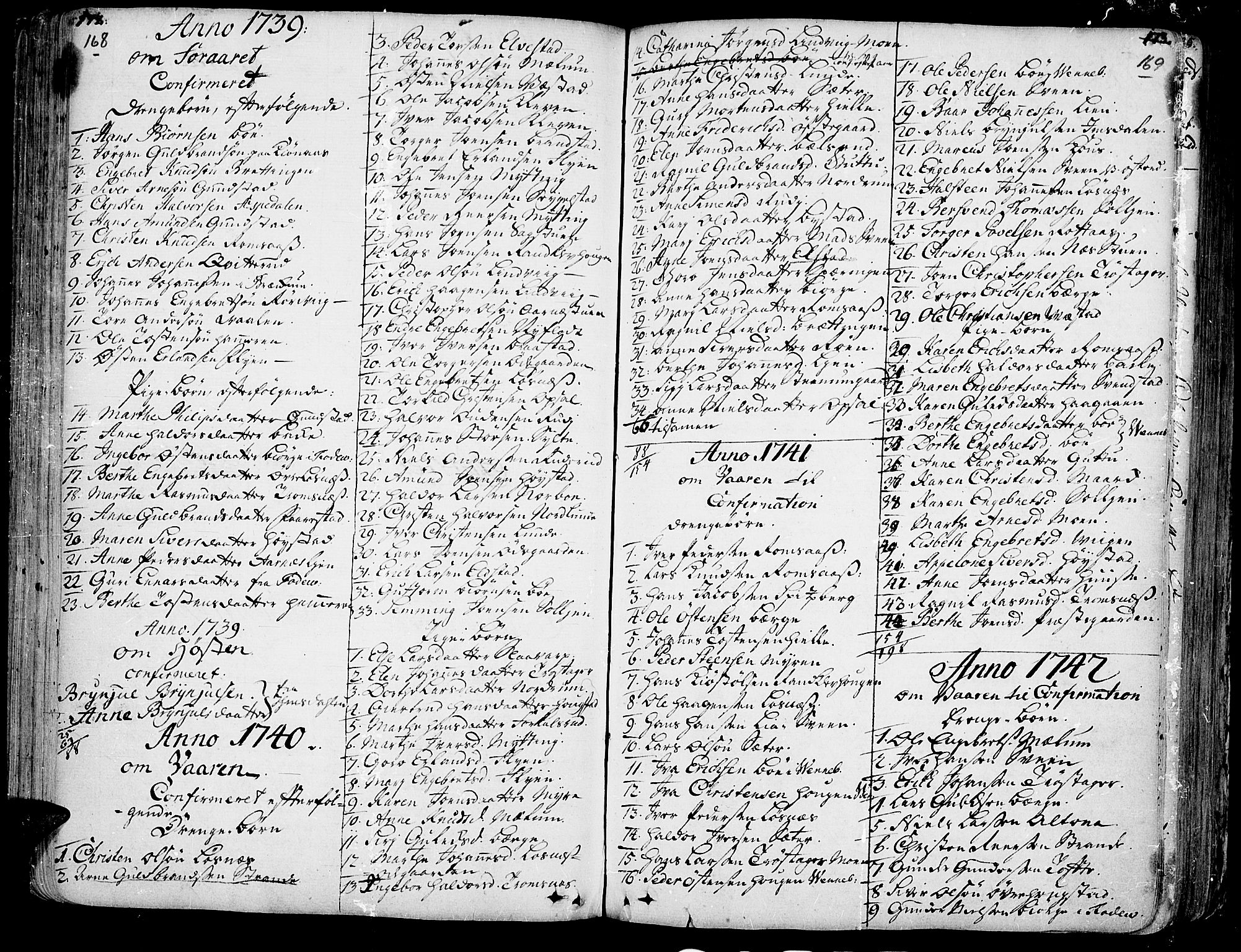 SAH, Ringebu prestekontor, Ministerialbok nr. 2, 1734-1780, s. 168-169