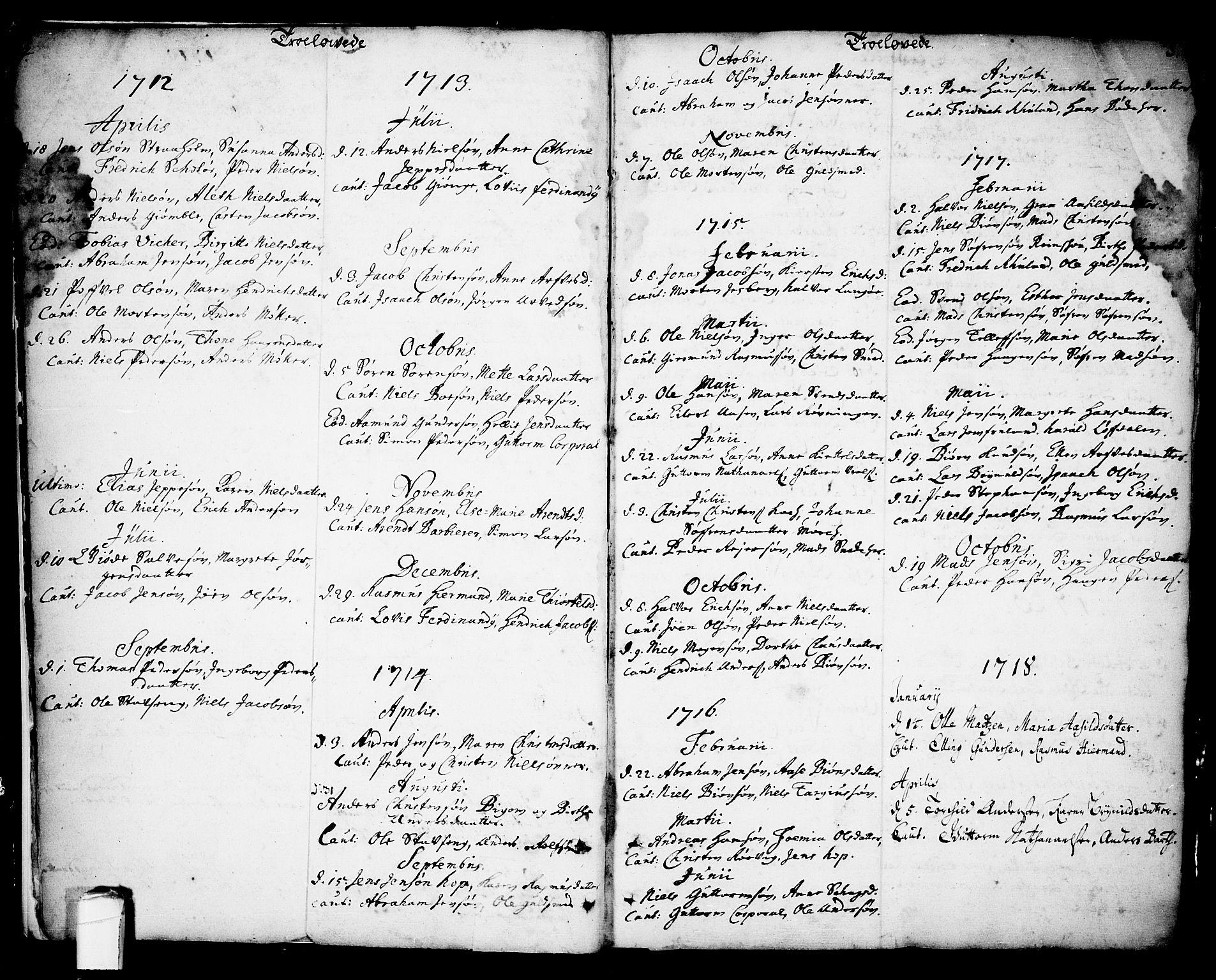 SAKO, Kragerø kirkebøker, F/Fa/L0001: Ministerialbok nr. 1, 1702-1766, s. 4-5