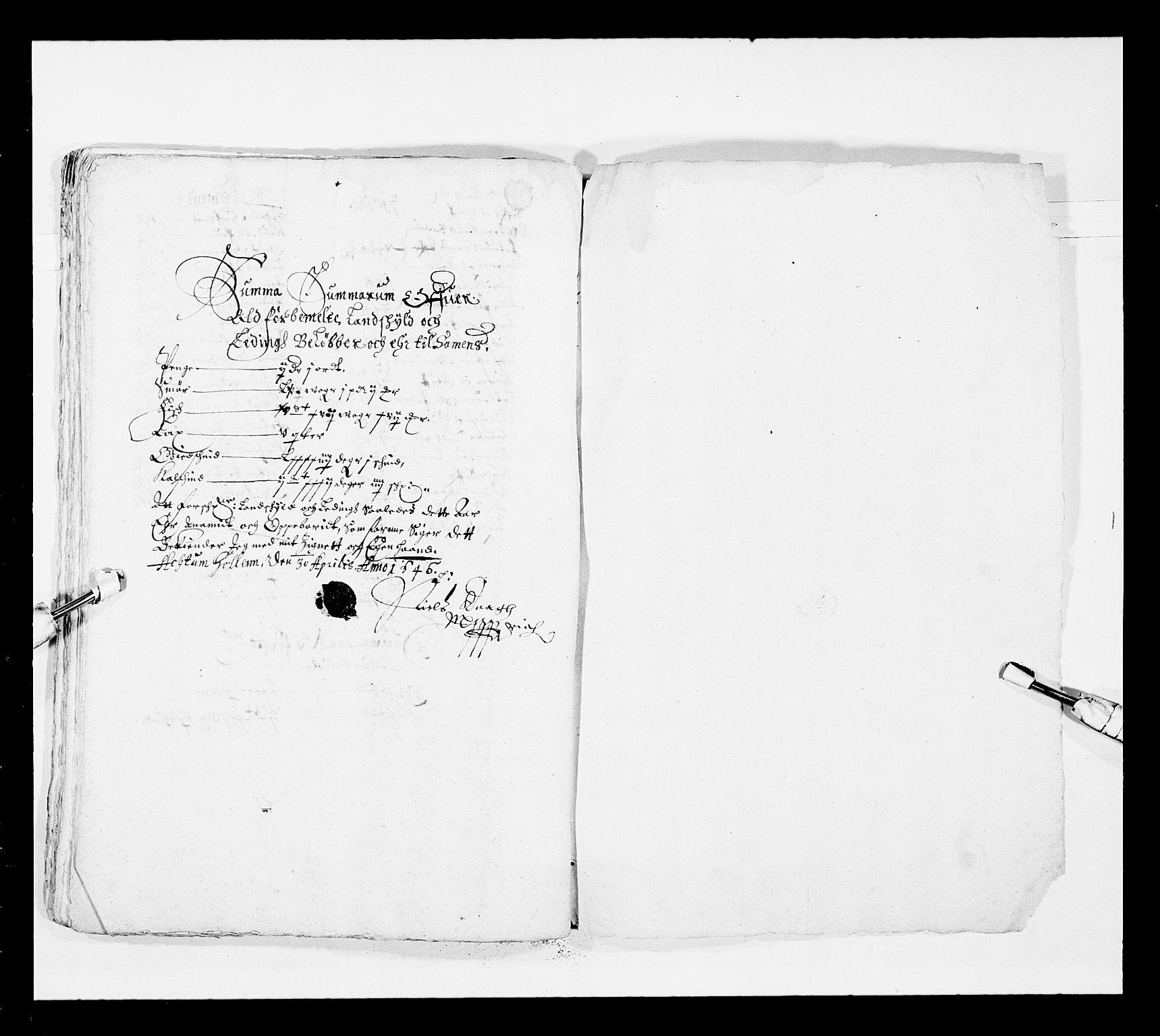 RA, Stattholderembetet 1572-1771, Ek/L0025: Jordebøker 1633-1658:, 1645-1646, s. 261