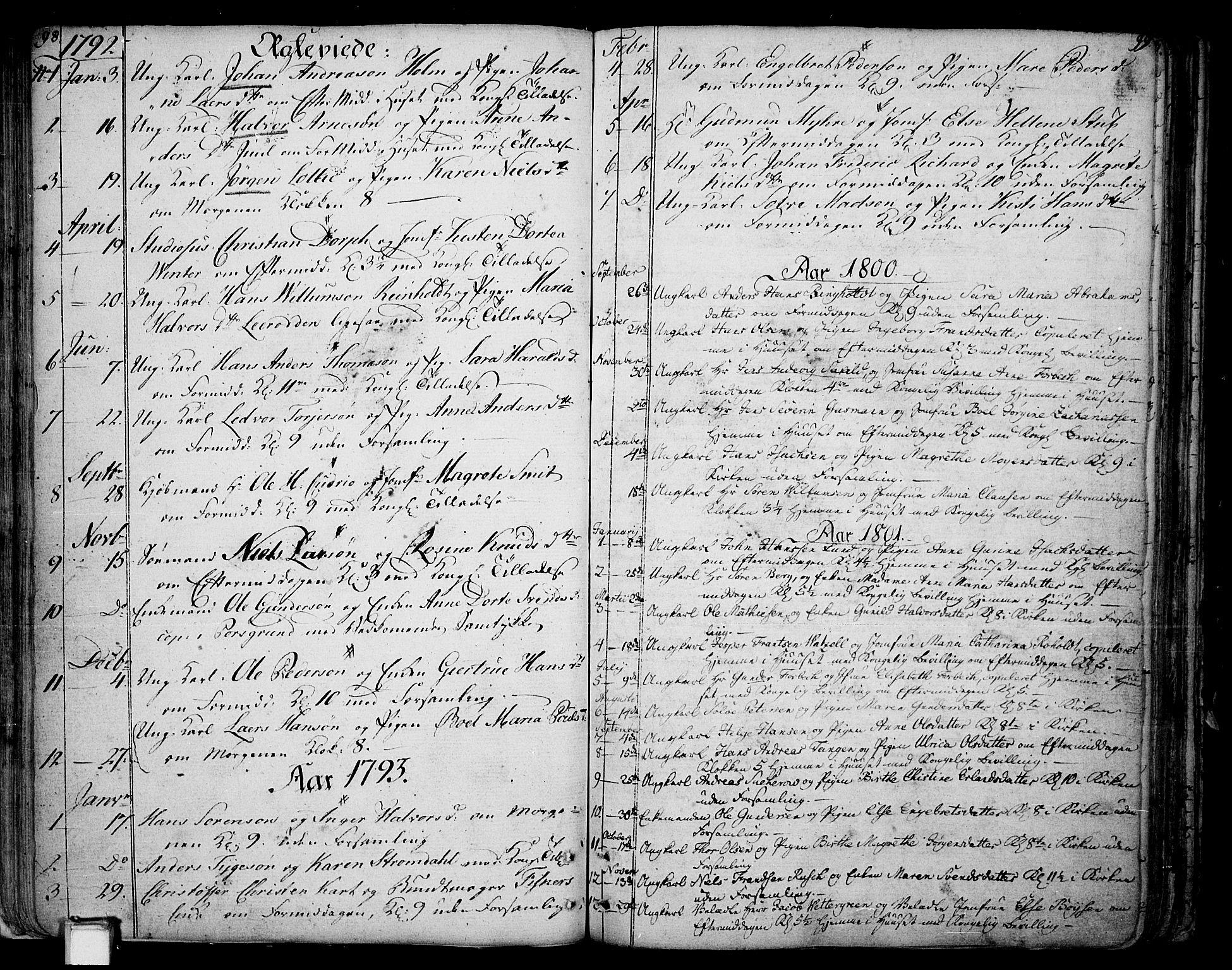 SAKO, Skien kirkebøker, F/Fa/L0004: Ministerialbok nr. 4, 1792-1814, s. 98-99