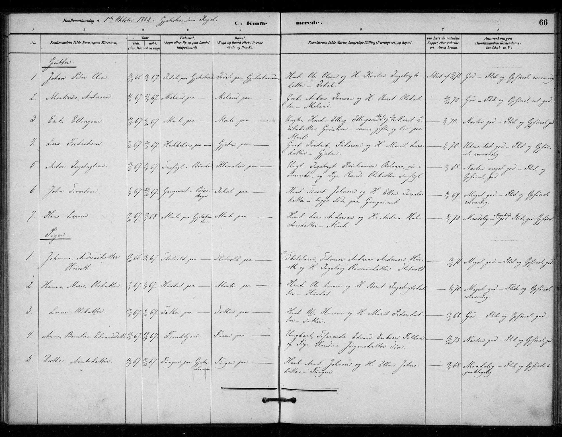 SAT, Ministerialprotokoller, klokkerbøker og fødselsregistre - Sør-Trøndelag, 670/L0836: Ministerialbok nr. 670A01, 1879-1904, s. 66