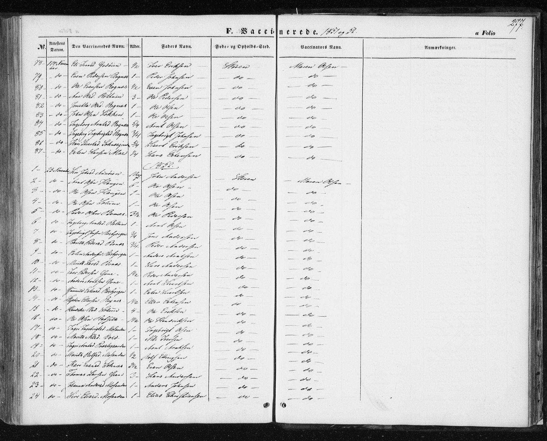 SAT, Ministerialprotokoller, klokkerbøker og fødselsregistre - Sør-Trøndelag, 687/L1000: Ministerialbok nr. 687A06, 1848-1869, s. 277