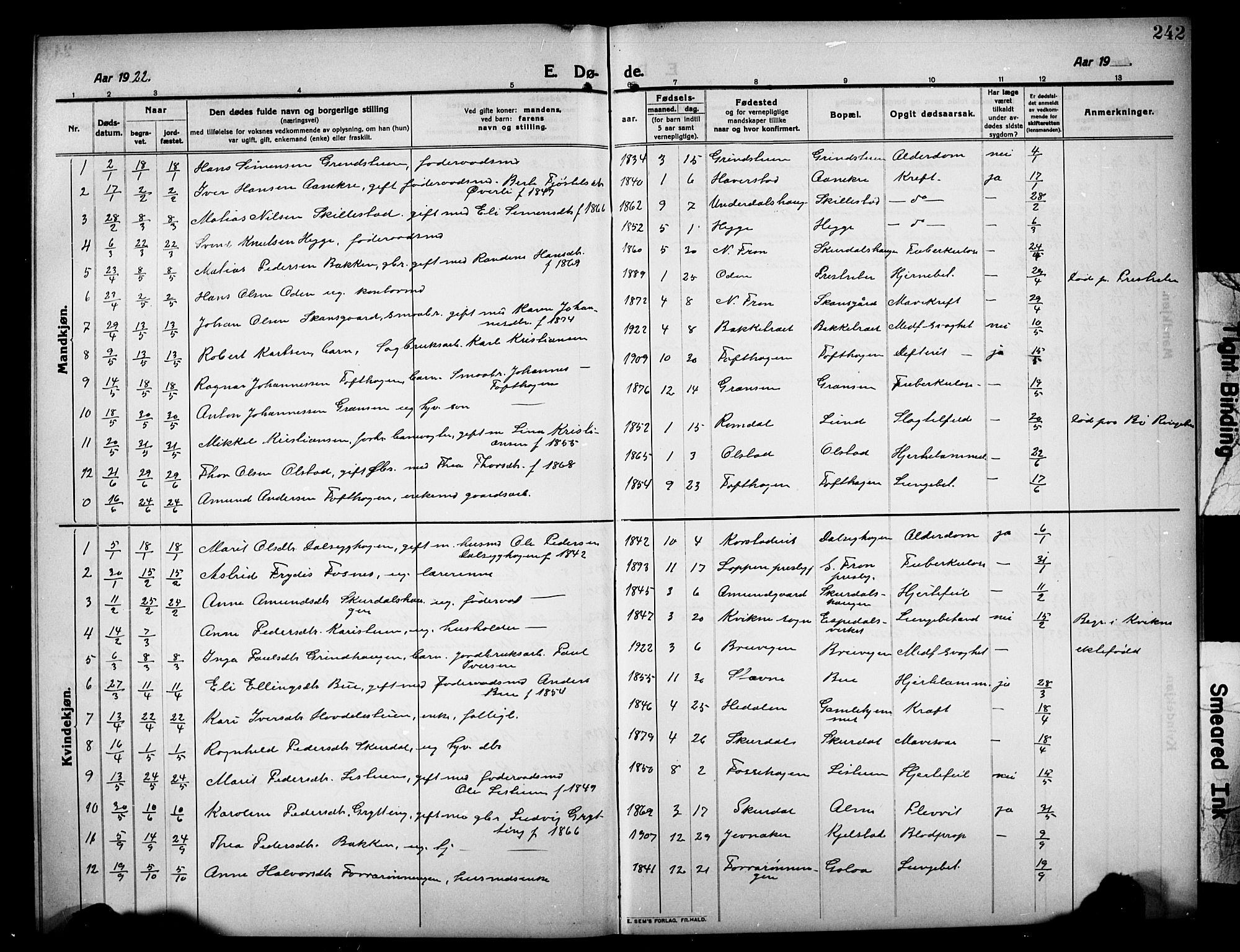 SAH, Sør-Fron prestekontor, H/Ha/Hab/L0005: Klokkerbok nr. 5, 1912-1930, s. 242