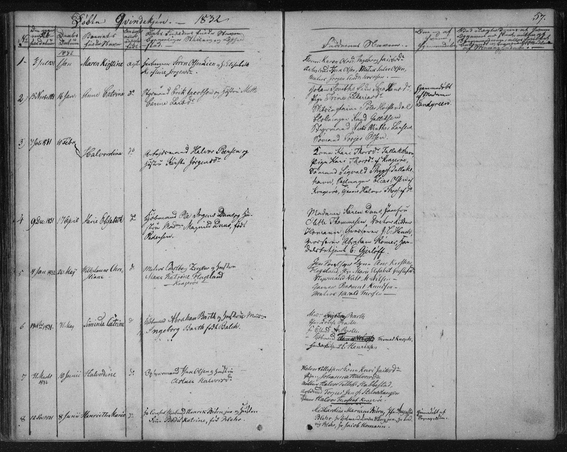SAKO, Kragerø kirkebøker, F/Fa/L0005: Ministerialbok nr. 5, 1832-1847, s. 57