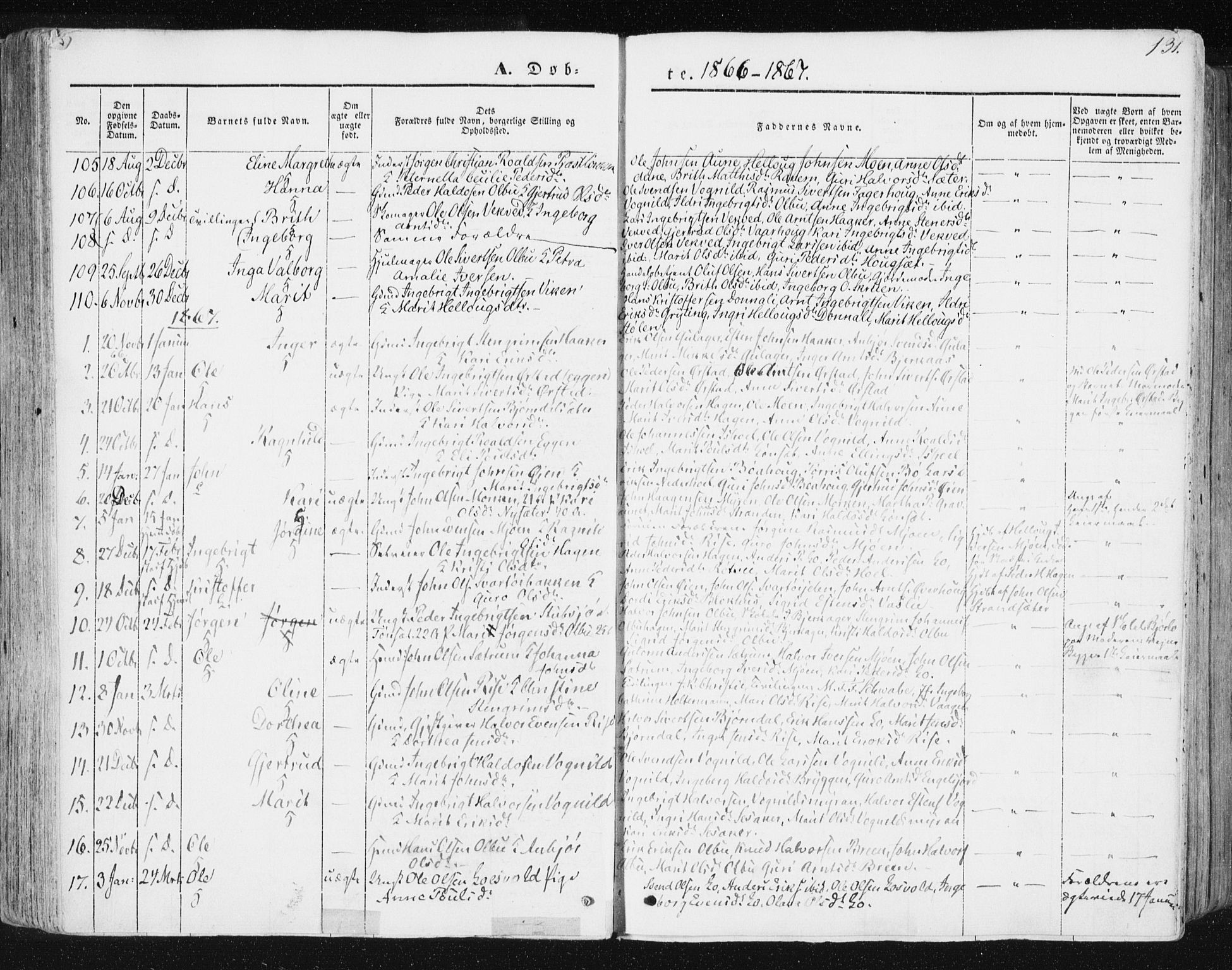 SAT, Ministerialprotokoller, klokkerbøker og fødselsregistre - Sør-Trøndelag, 678/L0899: Ministerialbok nr. 678A08, 1848-1872, s. 131
