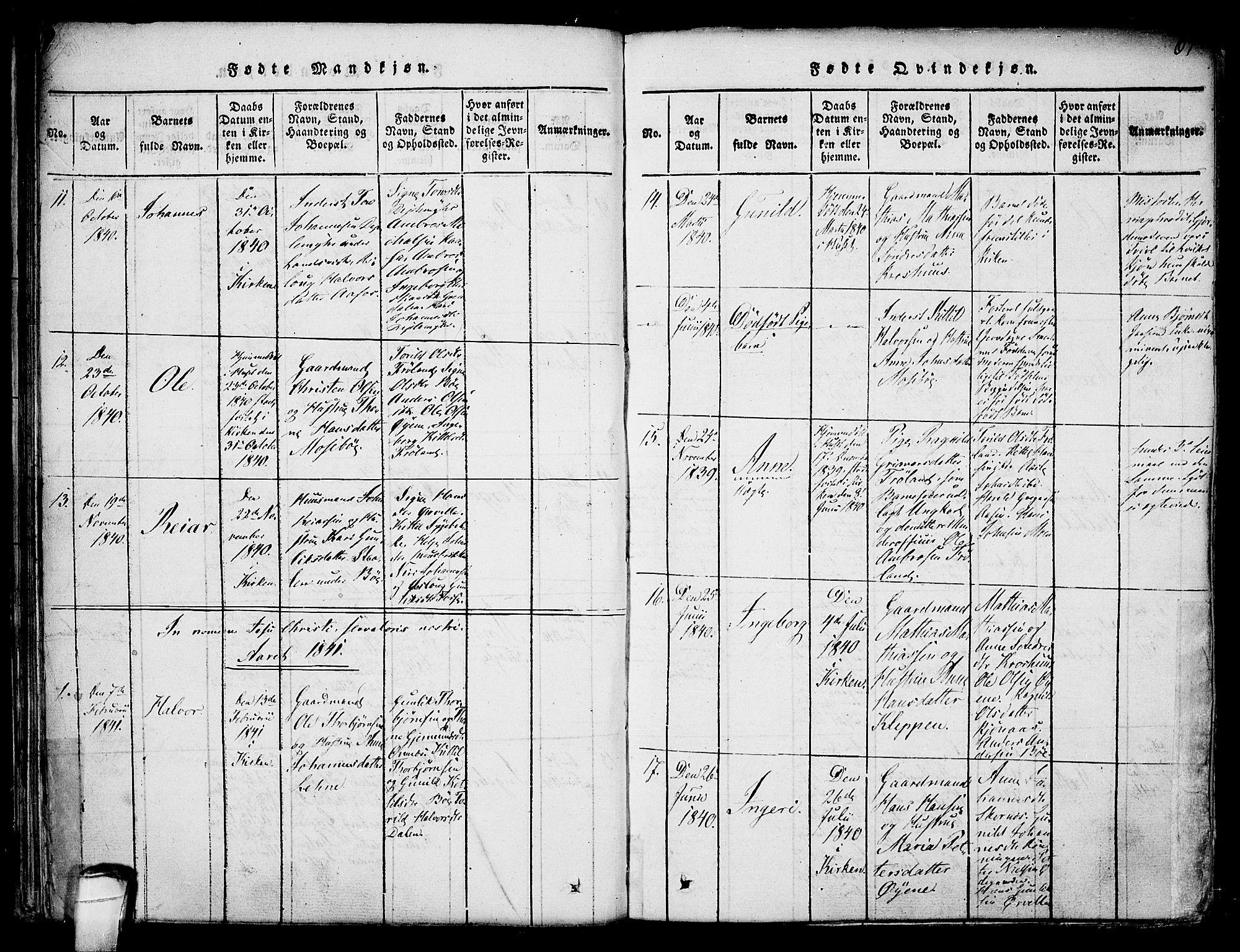 SAKO, Hjartdal kirkebøker, F/Fb/L0001: Ministerialbok nr. II 1, 1815-1843, s. 67
