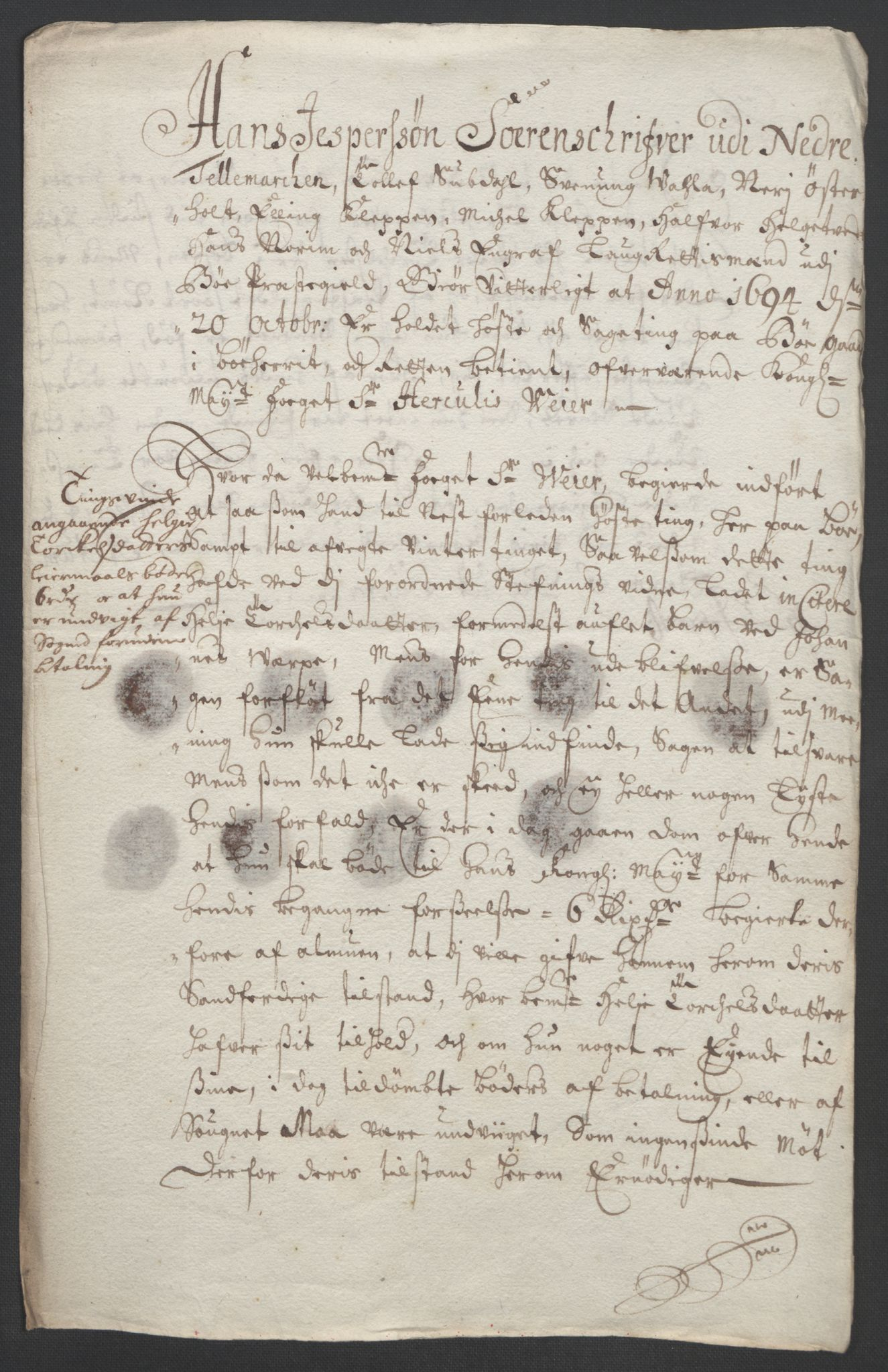 RA, Rentekammeret inntil 1814, Reviderte regnskaper, Fogderegnskap, R36/L2092: Fogderegnskap Øvre og Nedre Telemark og Bamble, 1694, s. 142