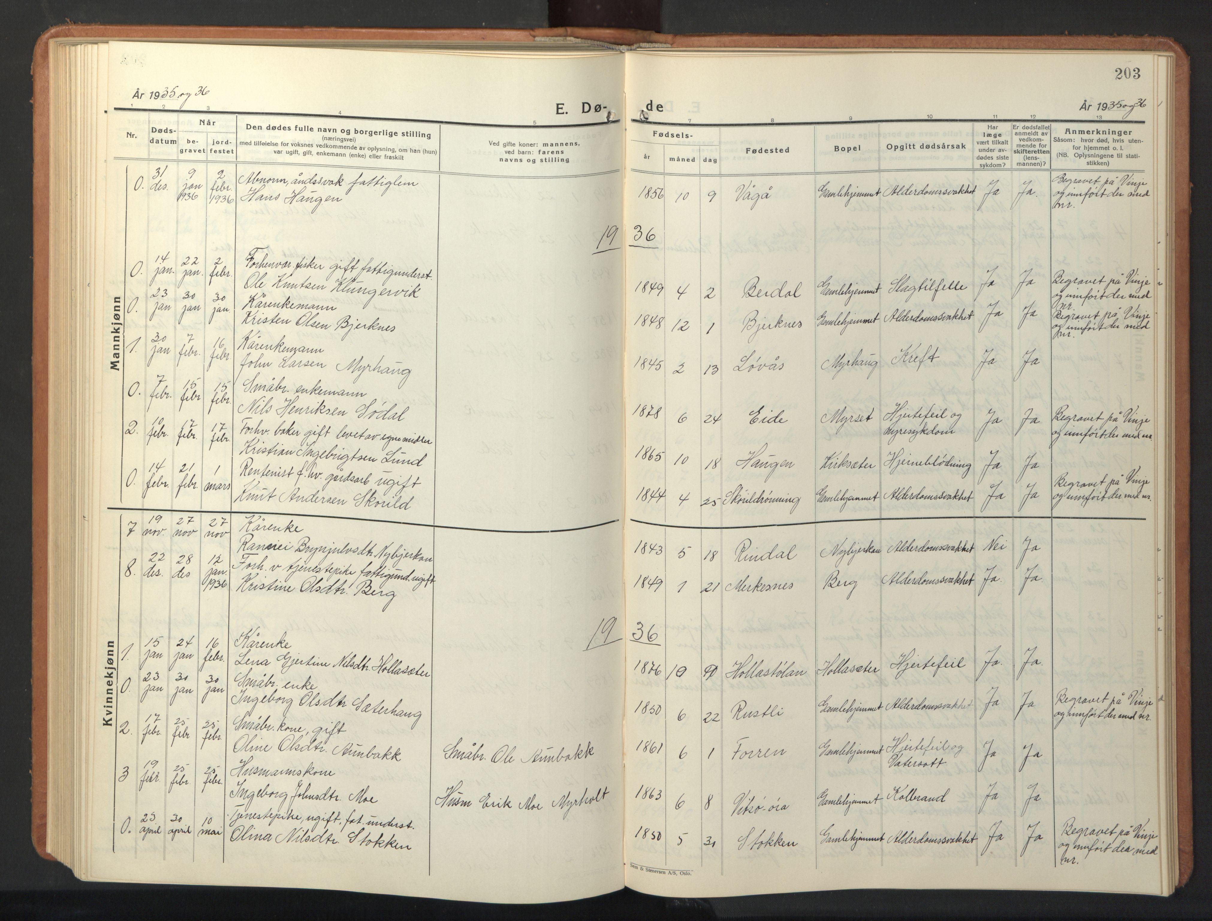 SAT, Ministerialprotokoller, klokkerbøker og fødselsregistre - Sør-Trøndelag, 630/L0508: Klokkerbok nr. 630C06, 1933-1950, s. 203
