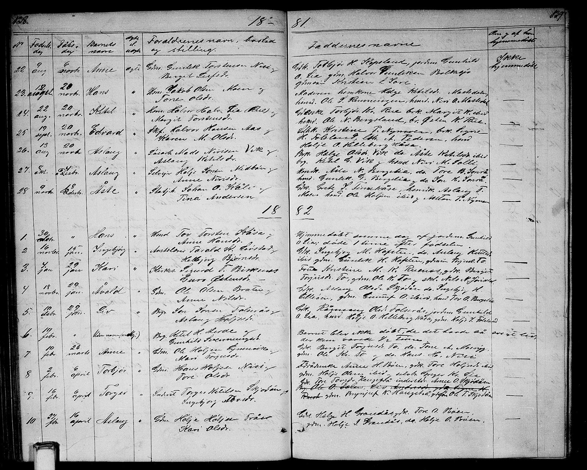 SAKO, Gransherad kirkebøker, G/Ga/L0002: Klokkerbok nr. I 2, 1854-1886, s. 138-139