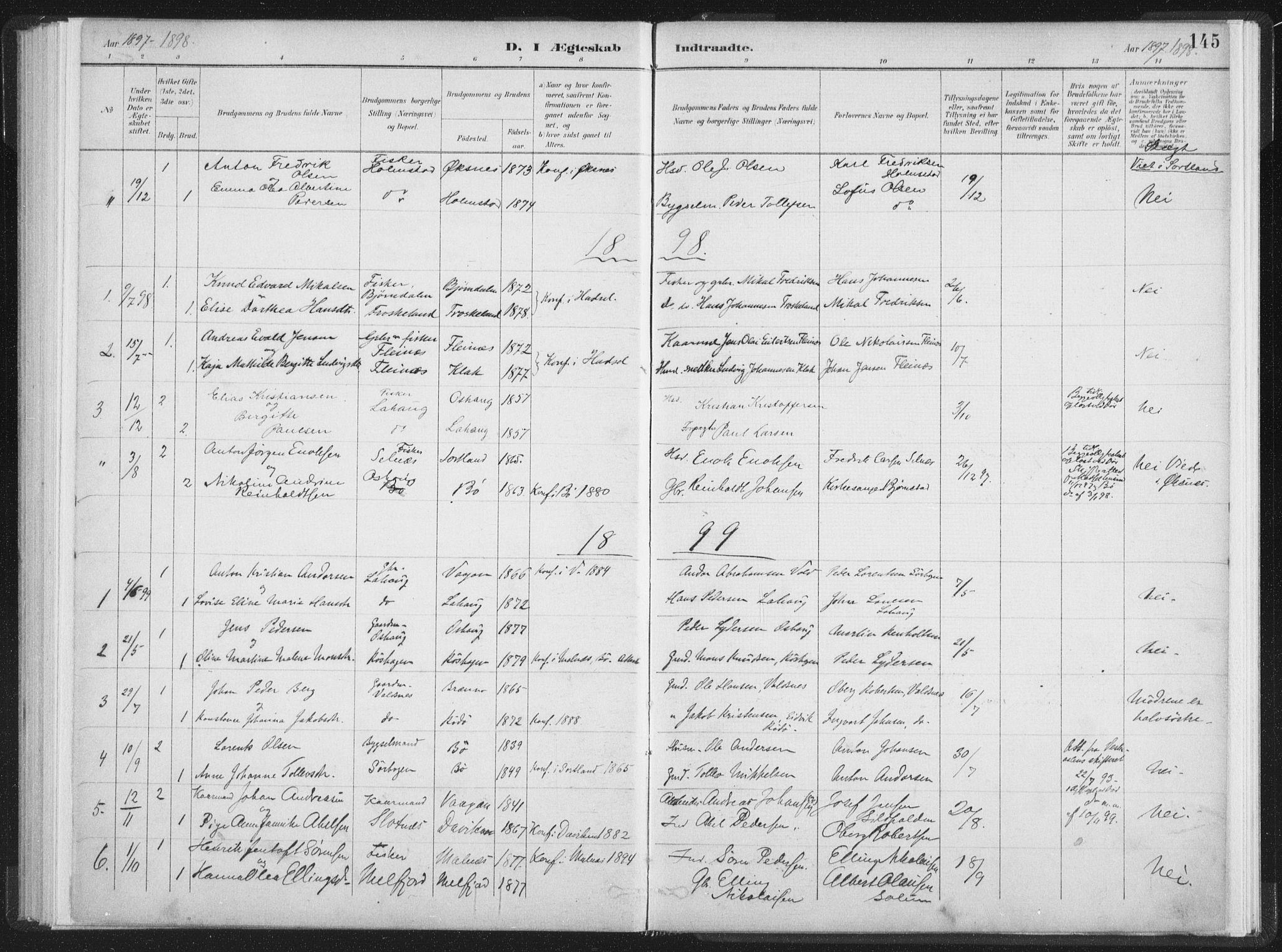 SAT, Ministerialprotokoller, klokkerbøker og fødselsregistre - Nordland, 890/L1286: Ministerialbok nr. 890A01, 1882-1902, s. 145