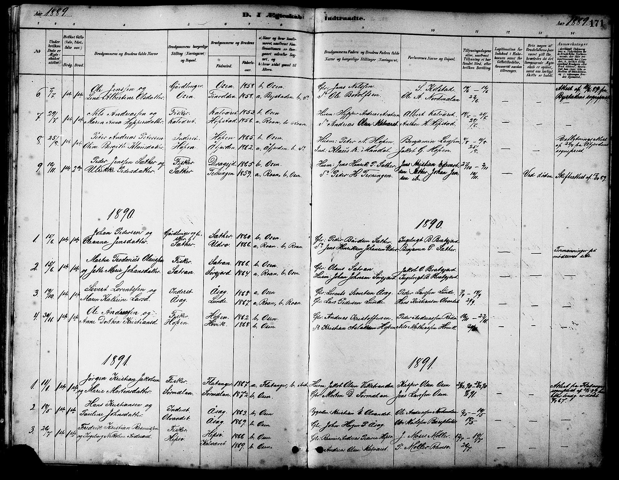 SAT, Ministerialprotokoller, klokkerbøker og fødselsregistre - Sør-Trøndelag, 658/L0726: Klokkerbok nr. 658C02, 1883-1908, s. 171