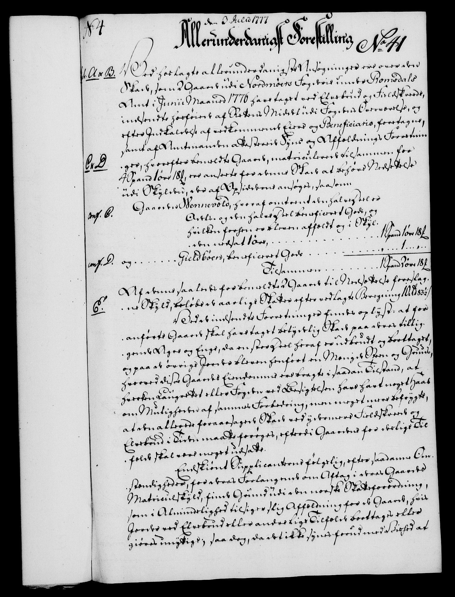 RA, Rentekammeret, Kammerkanselliet, G/Gf/Gfa/L0059: Norsk relasjons- og resolusjonsprotokoll (merket RK 52.59), 1777, s. 219