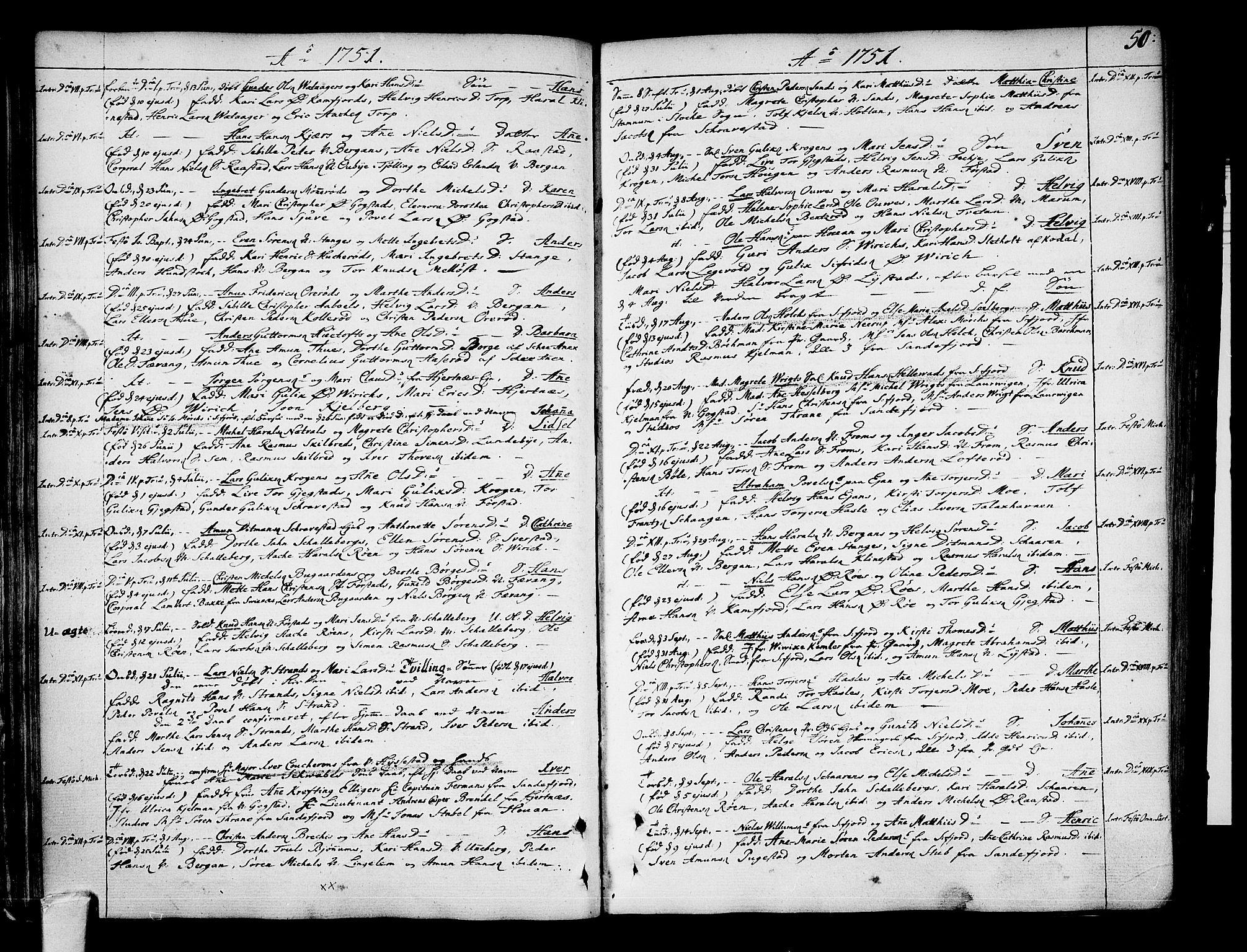 SAKO, Sandar kirkebøker, F/Fa/L0002: Ministerialbok nr. 2, 1733-1788, s. 50
