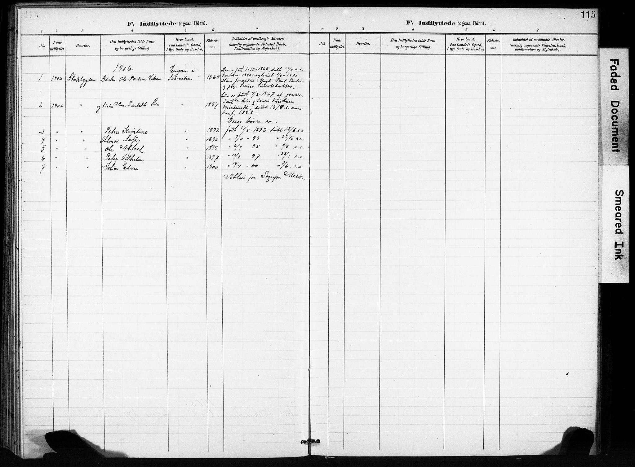 SAT, Ministerialprotokoller, klokkerbøker og fødselsregistre - Sør-Trøndelag, 666/L0787: Ministerialbok nr. 666A05, 1895-1908, s. 115