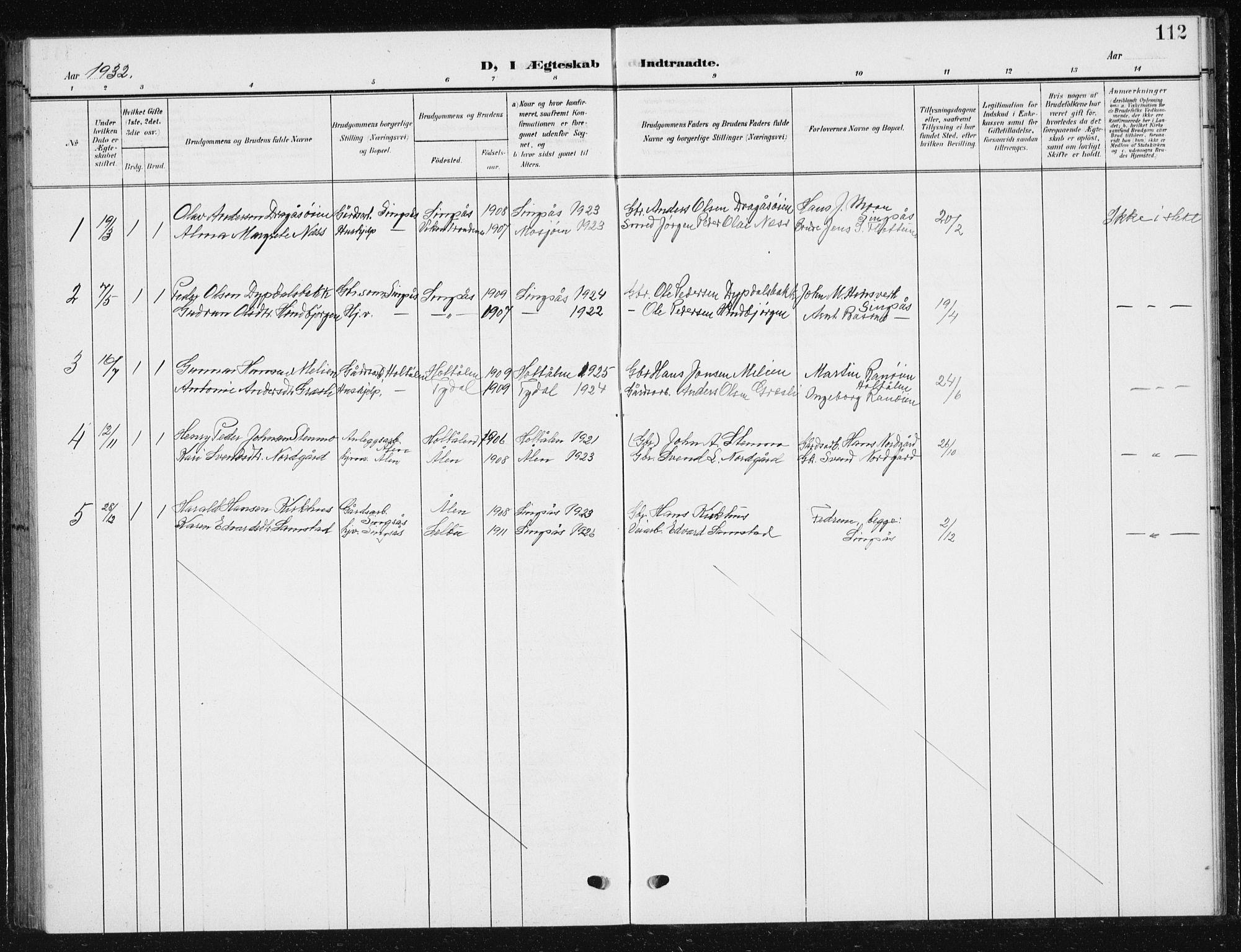 SAT, Ministerialprotokoller, klokkerbøker og fødselsregistre - Sør-Trøndelag, 685/L0979: Klokkerbok nr. 685C04, 1908-1933, s. 112
