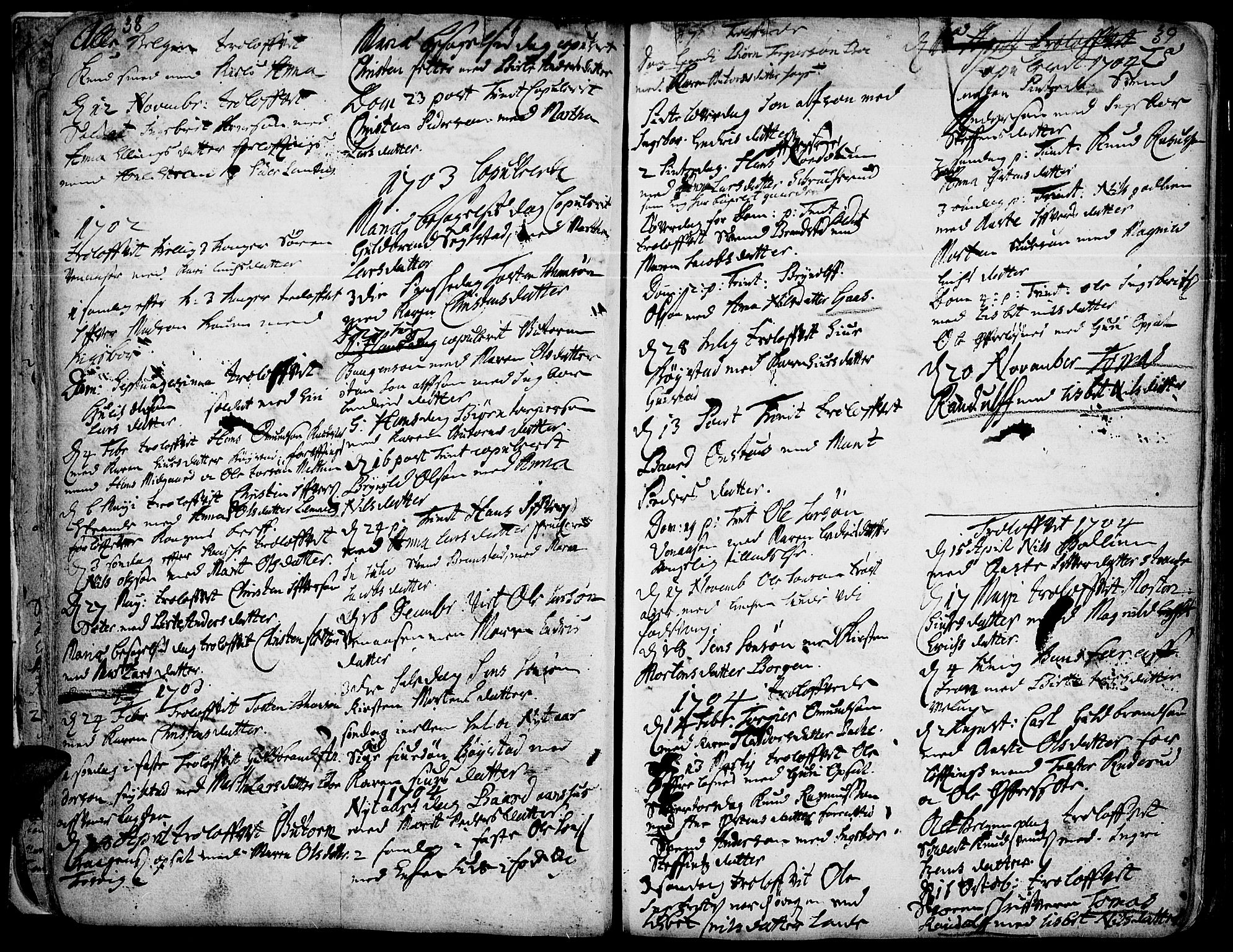 SAH, Ringebu prestekontor, Ministerialbok nr. 1, 1696-1733, s. 38-39