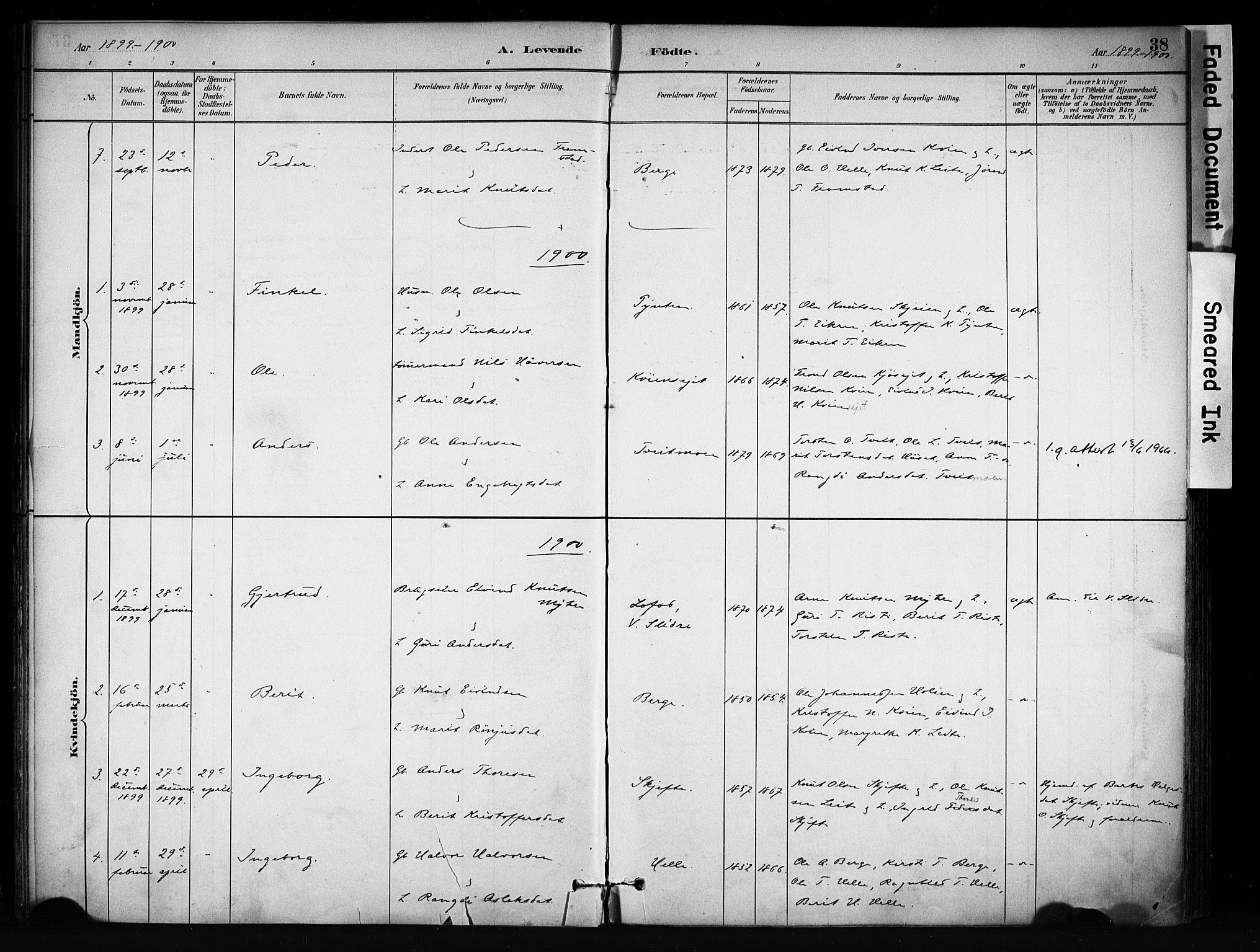 SAH, Vang prestekontor, Valdres, Ministerialbok nr. 9, 1882-1914, s. 38