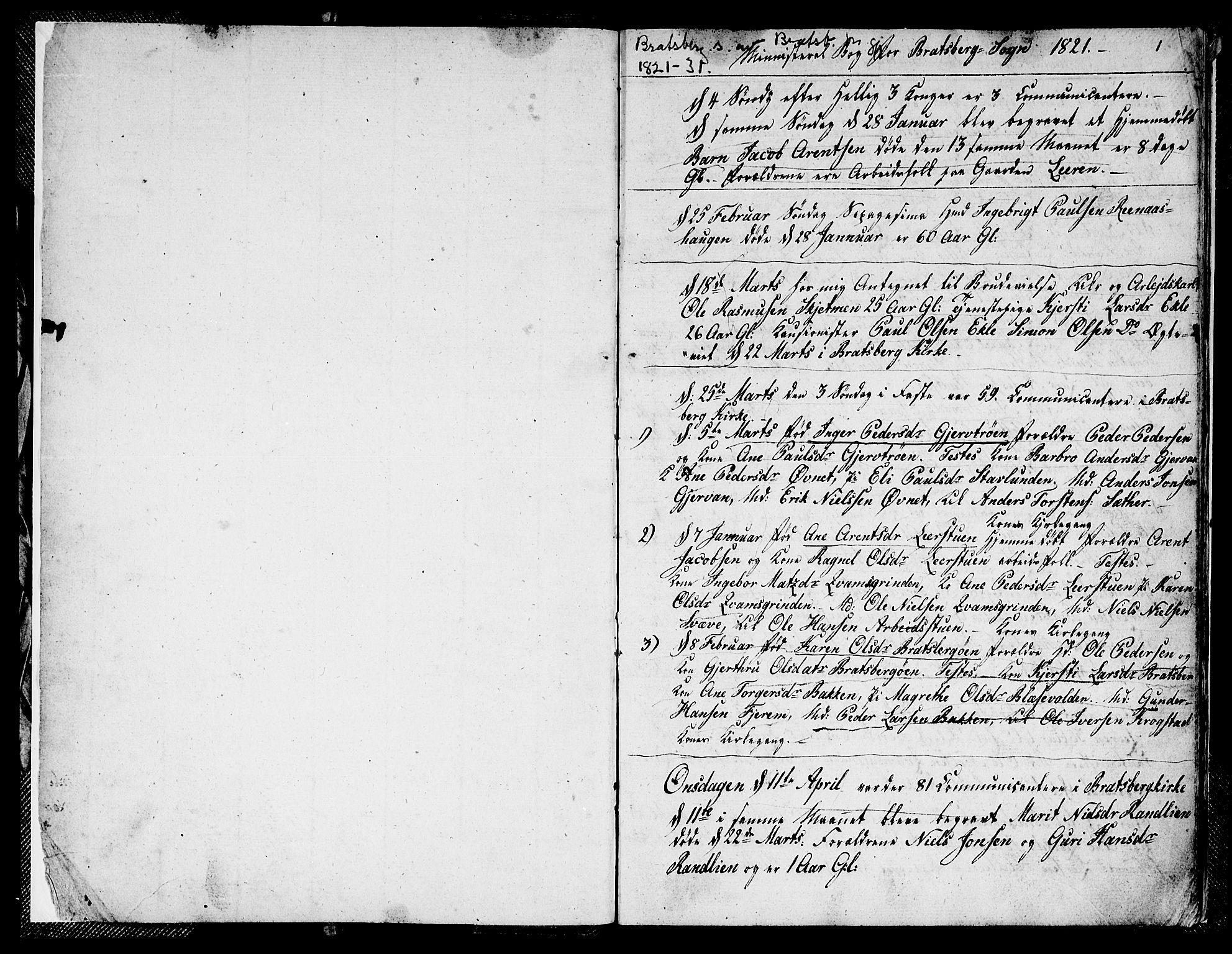 SAT, Ministerialprotokoller, klokkerbøker og fødselsregistre - Sør-Trøndelag, 608/L0337: Klokkerbok nr. 608C03, 1821-1831, s. 1