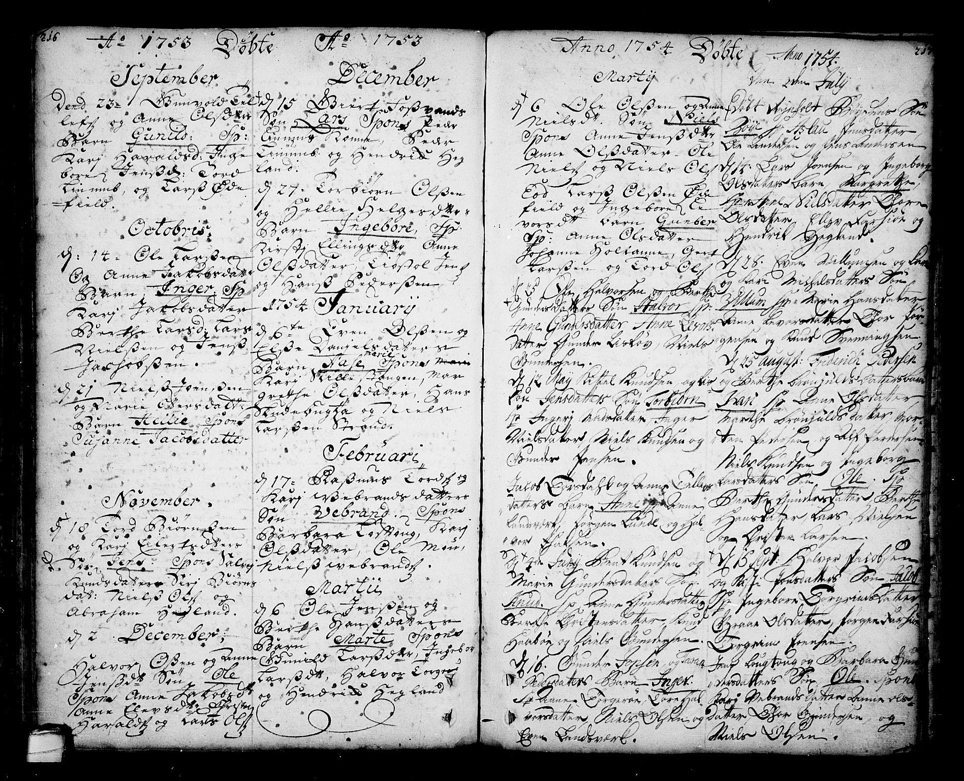 SAKO, Sannidal kirkebøker, F/Fa/L0001: Ministerialbok nr. 1, 1702-1766, s. 216-217