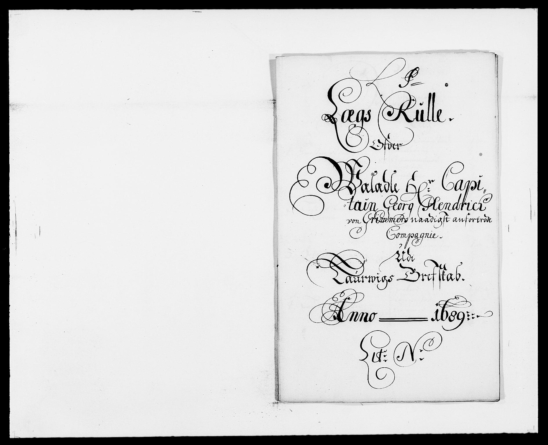 RA, Rentekammeret inntil 1814, Reviderte regnskaper, Fogderegnskap, R33/L1971: Fogderegnskap Larvik grevskap, 1688-1689, s. 316