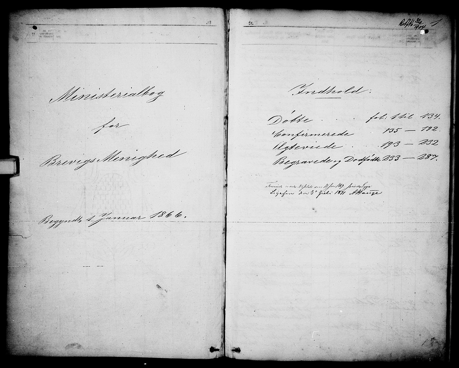 SAKO, Brevik kirkebøker, G/Ga/L0003: Klokkerbok nr. 3, 1866-1881, s. 1