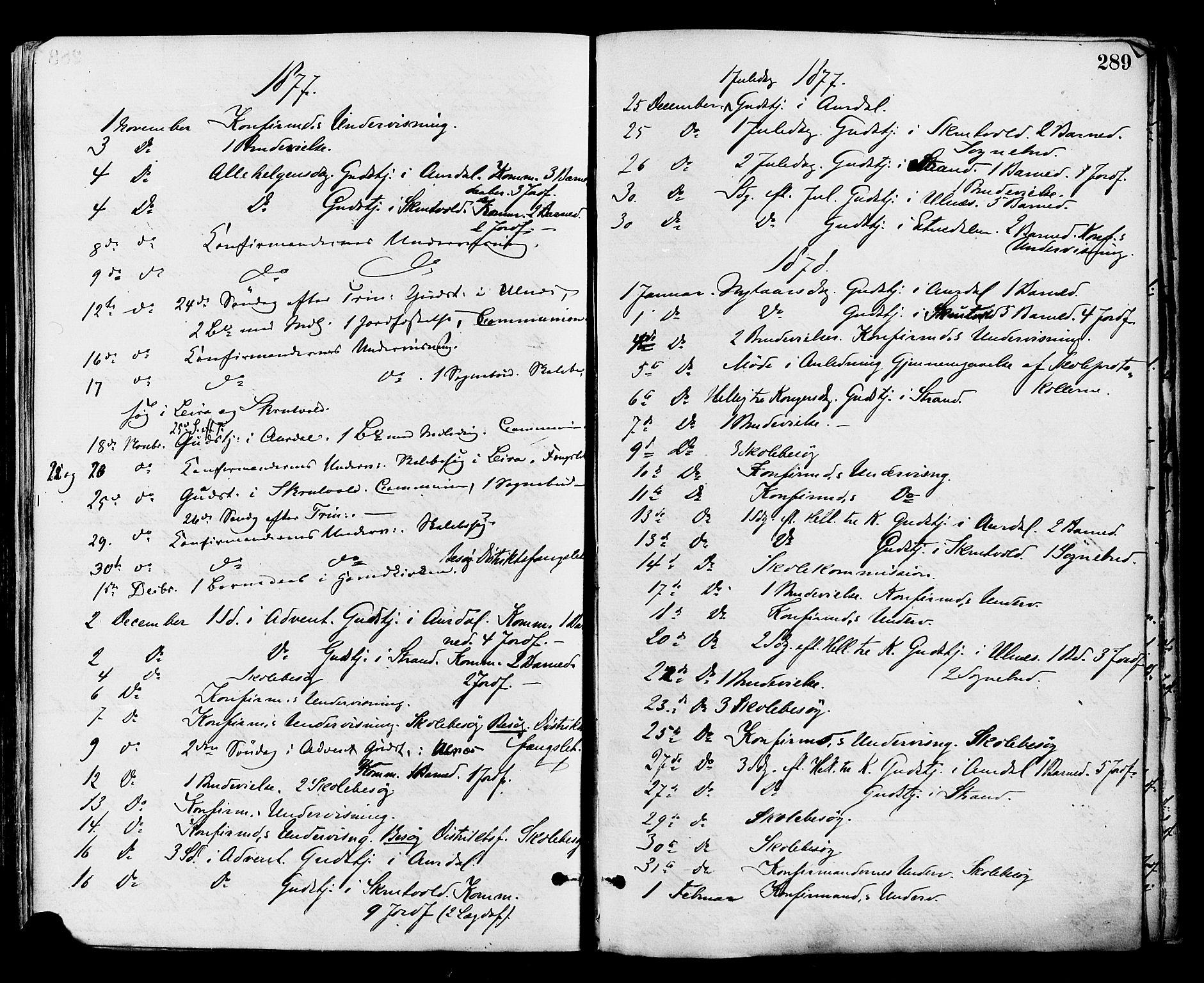 SAH, Nord-Aurdal prestekontor, Ministerialbok nr. 9, 1876-1882, s. 289