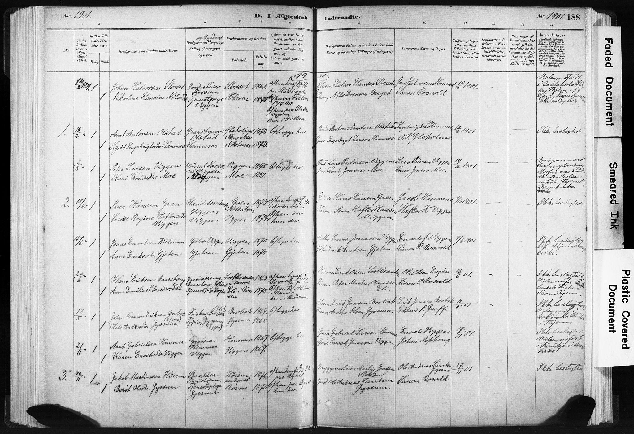 SAT, Ministerialprotokoller, klokkerbøker og fødselsregistre - Sør-Trøndelag, 665/L0773: Ministerialbok nr. 665A08, 1879-1905, s. 188