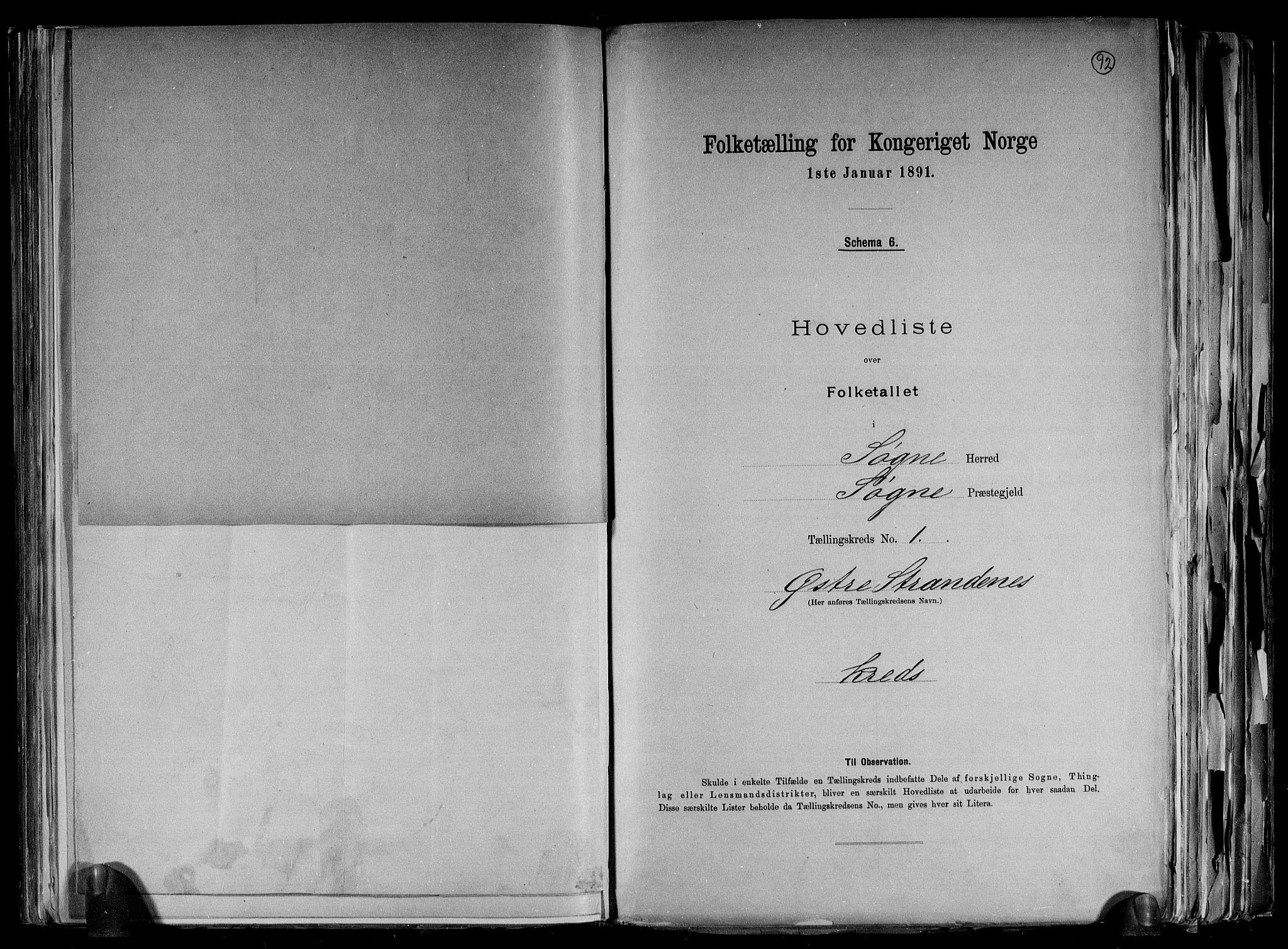 RA, Folketelling 1891 for 1018 Søgne herred, 1891, s. 7