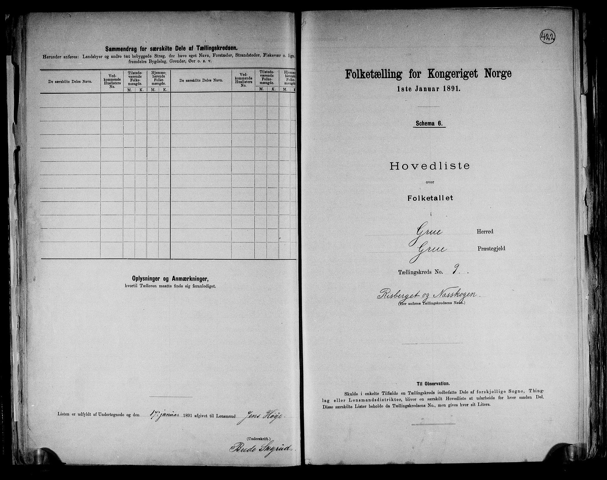 RA, Folketelling 1891 for 0423 Grue herred, 1891, s. 26