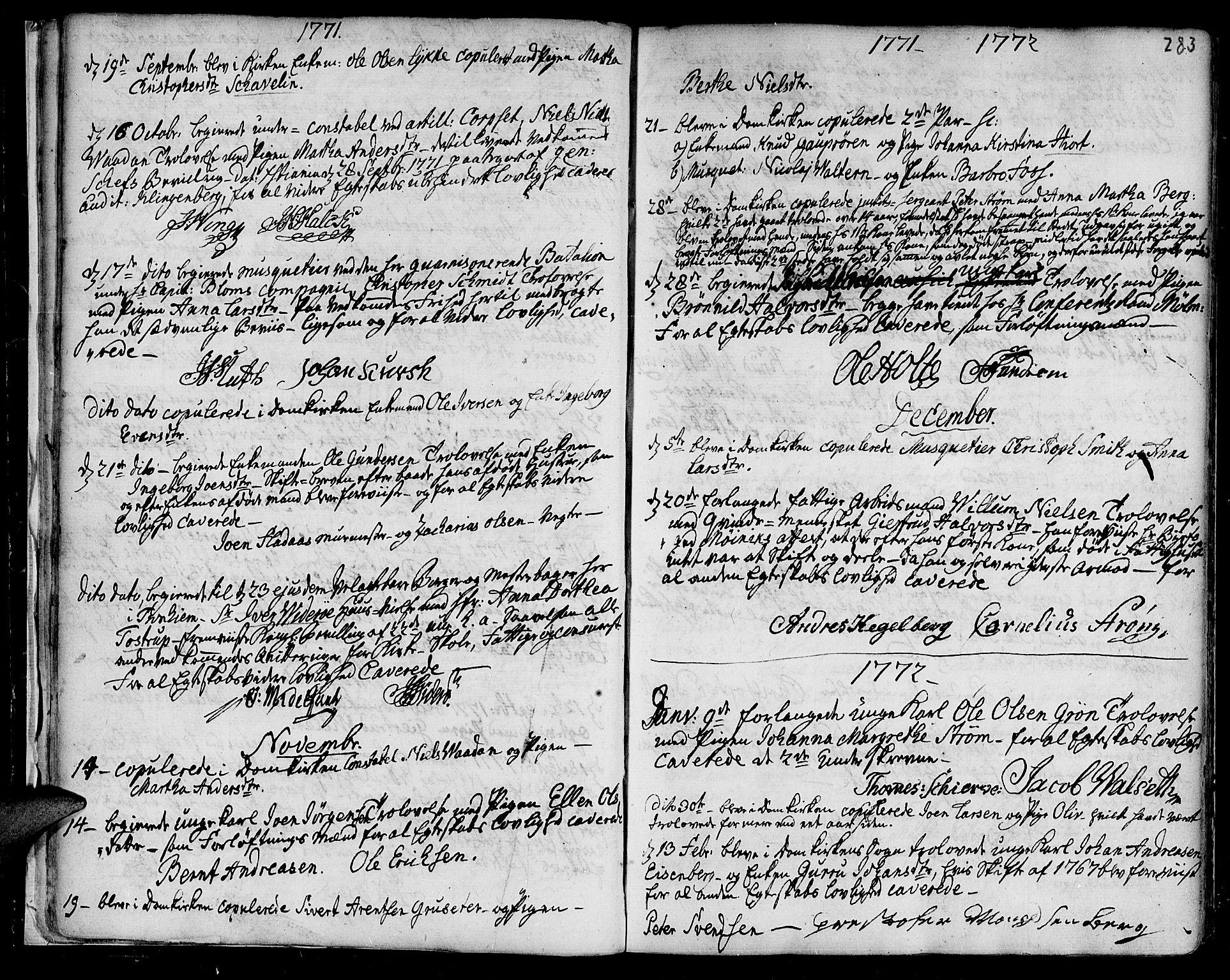 SAT, Ministerialprotokoller, klokkerbøker og fødselsregistre - Sør-Trøndelag, 601/L0038: Ministerialbok nr. 601A06, 1766-1877, s. 283
