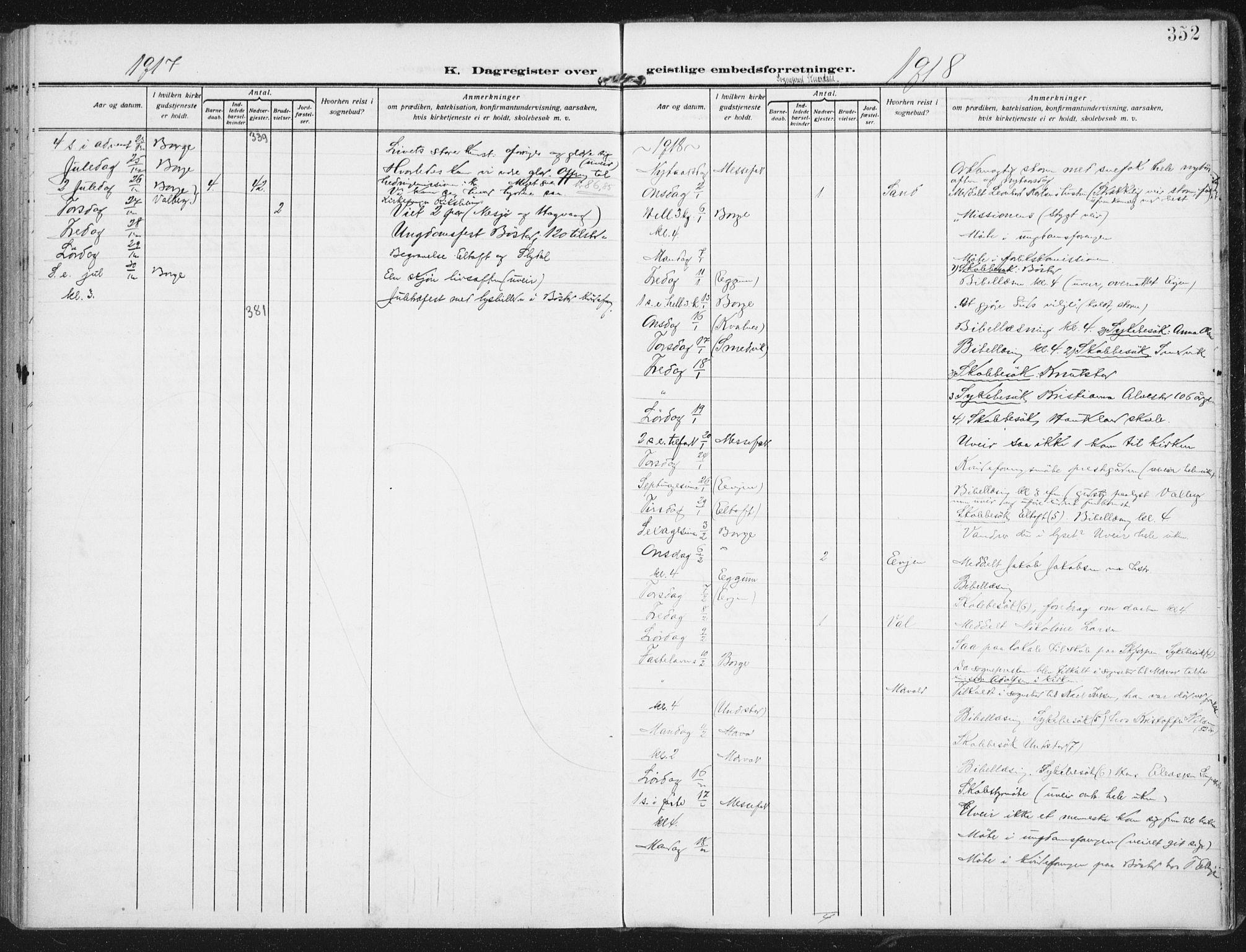 SAT, Ministerialprotokoller, klokkerbøker og fødselsregistre - Nordland, 880/L1135: Ministerialbok nr. 880A09, 1908-1919, s. 352