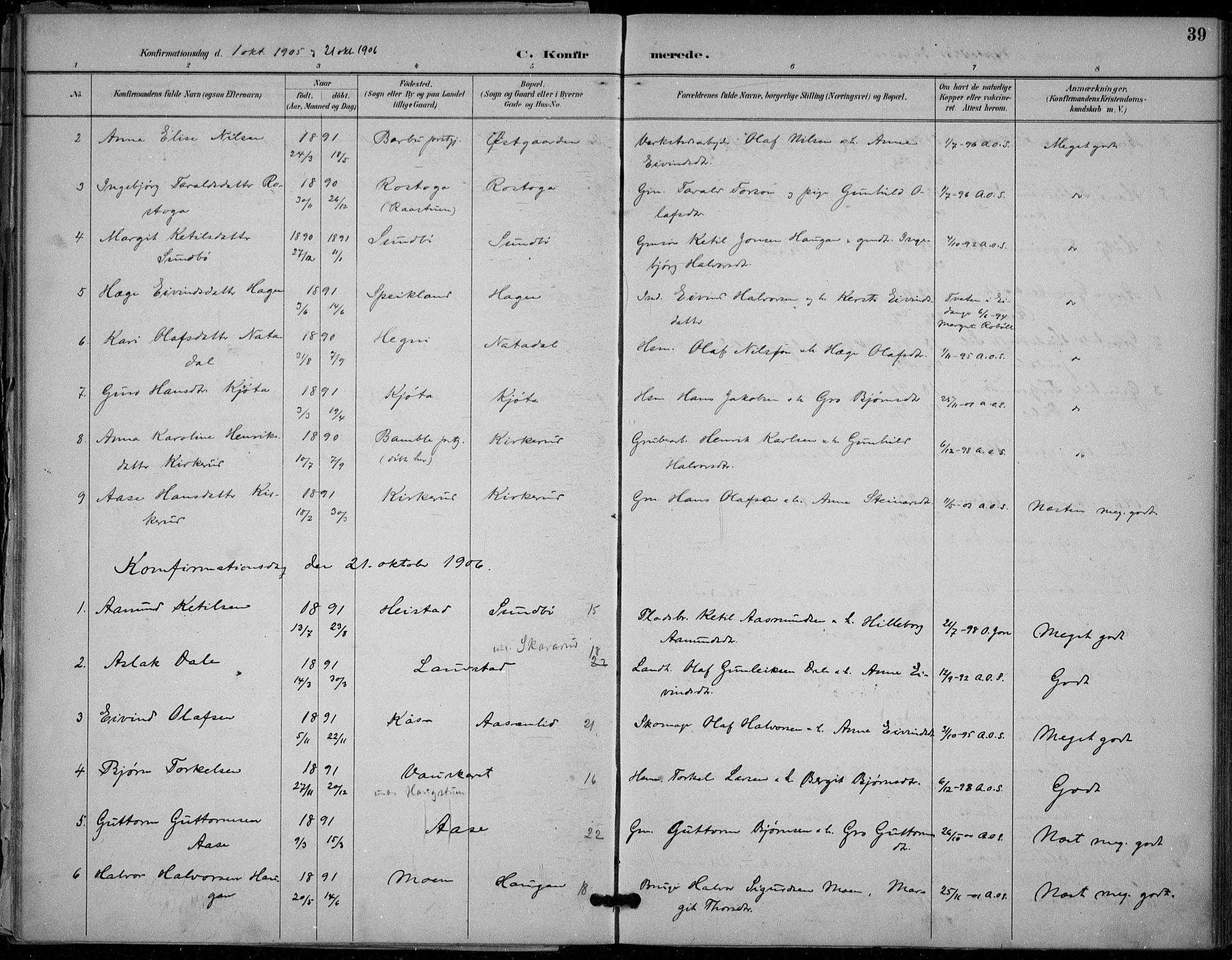 SAKO, Seljord kirkebøker, F/Fb/L0002: Ministerialbok nr. II 2, 1887-1917, s. 39
