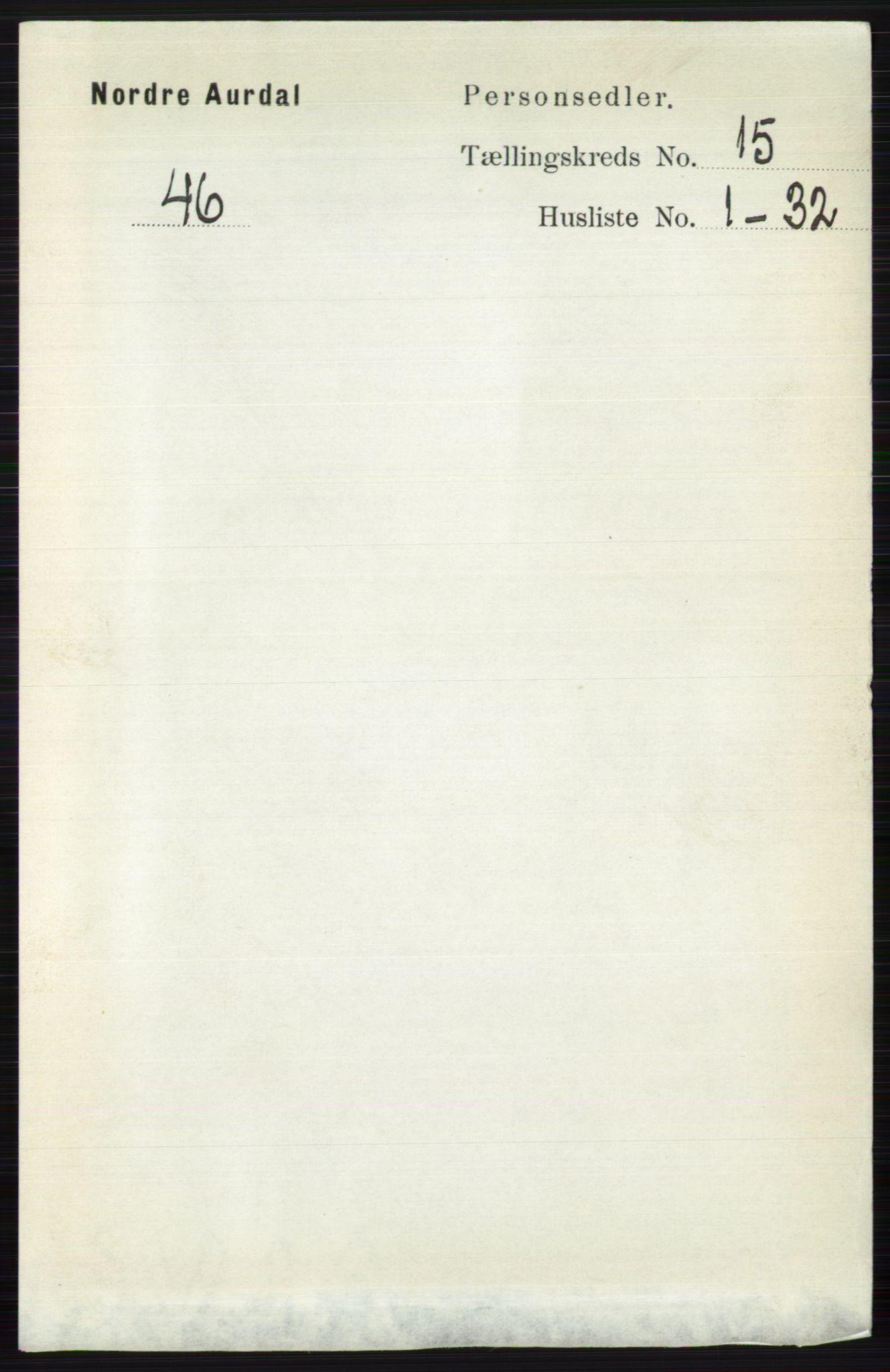 RA, Folketelling 1891 for 0542 Nord-Aurdal herred, 1891, s. 5740