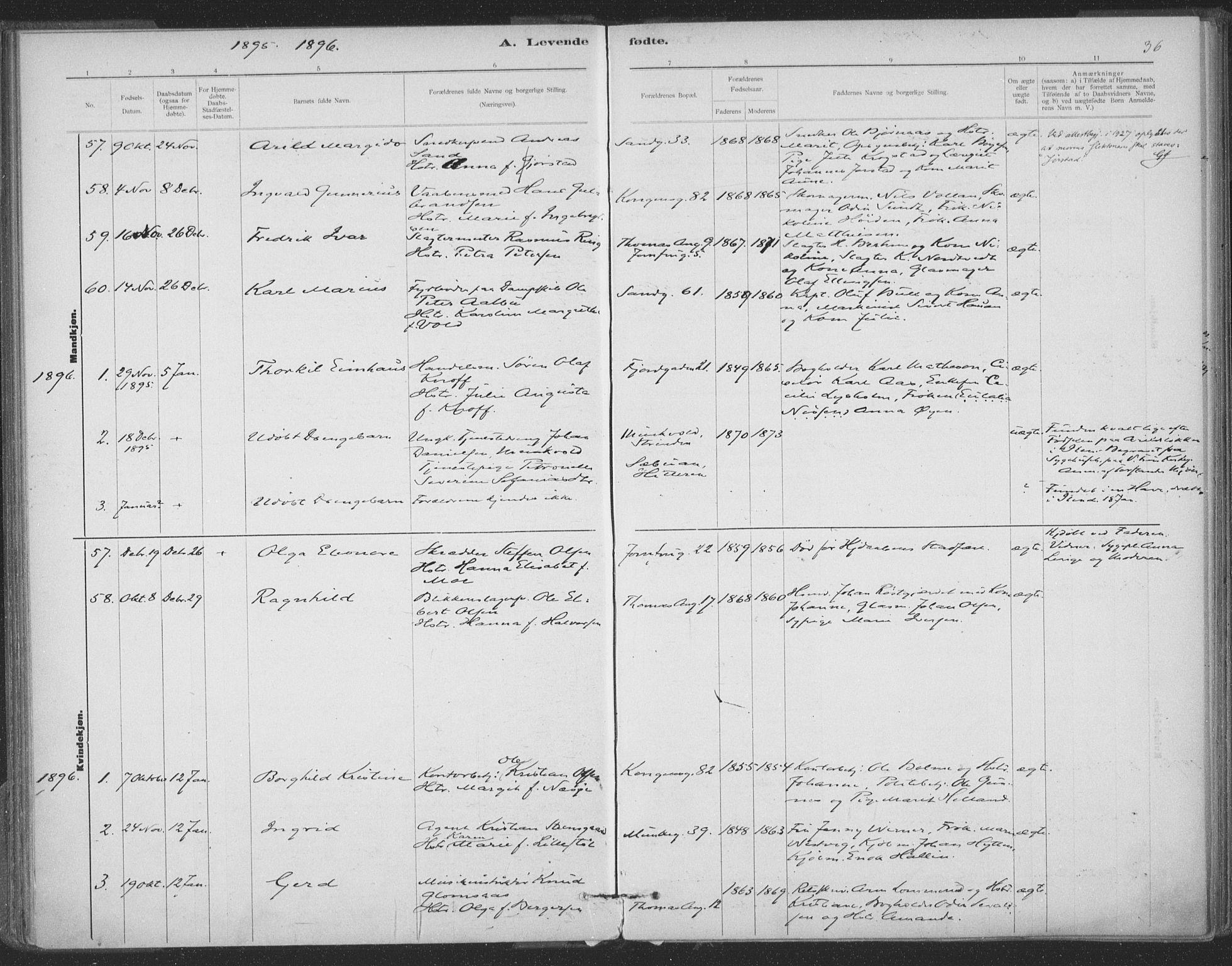 SAT, Ministerialprotokoller, klokkerbøker og fødselsregistre - Sør-Trøndelag, 602/L0122: Ministerialbok nr. 602A20, 1892-1908, s. 36