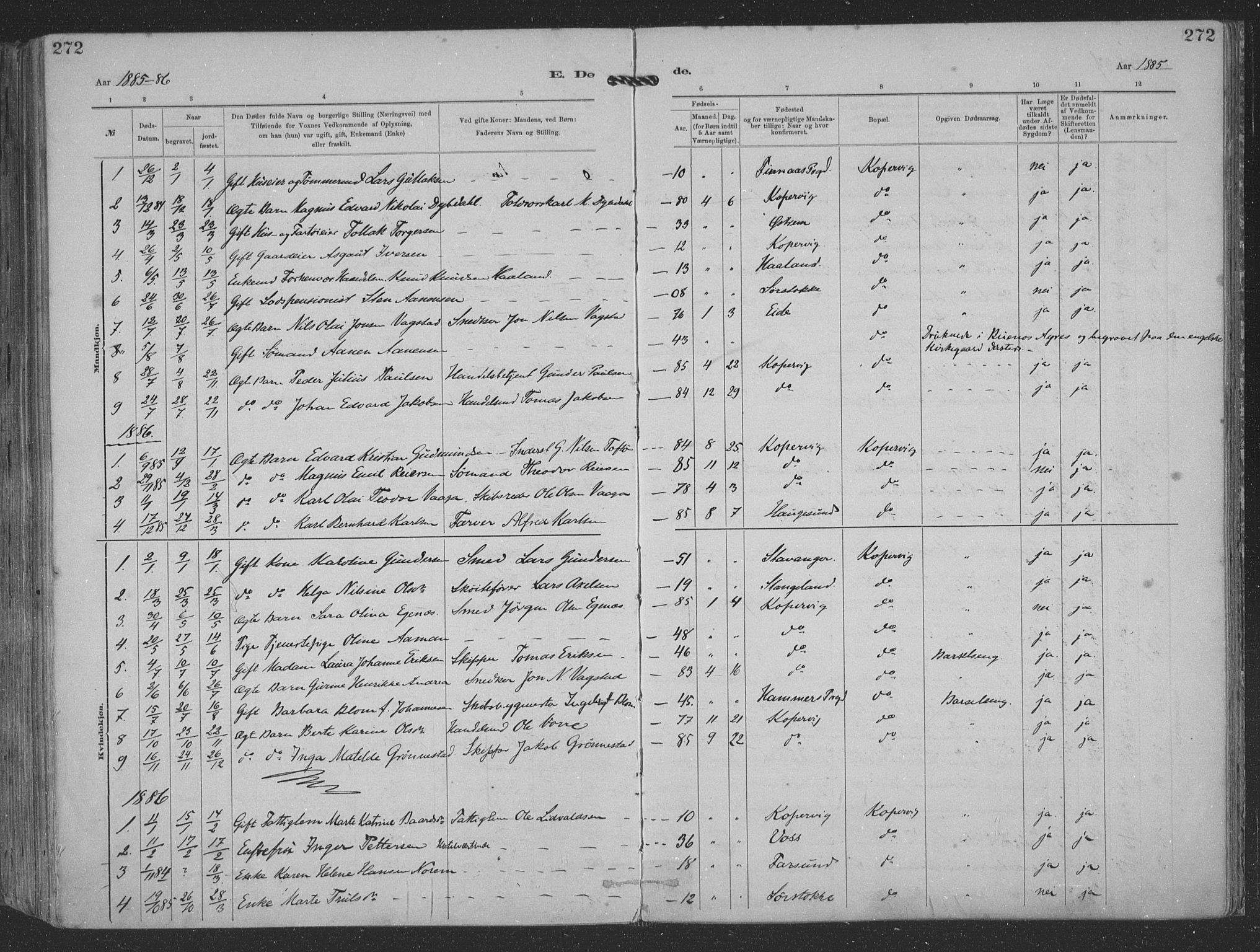 SAST, Kopervik sokneprestkontor, H/Ha/Haa/L0001: Ministerialbok nr. A 1, 1880-1919, s. 272