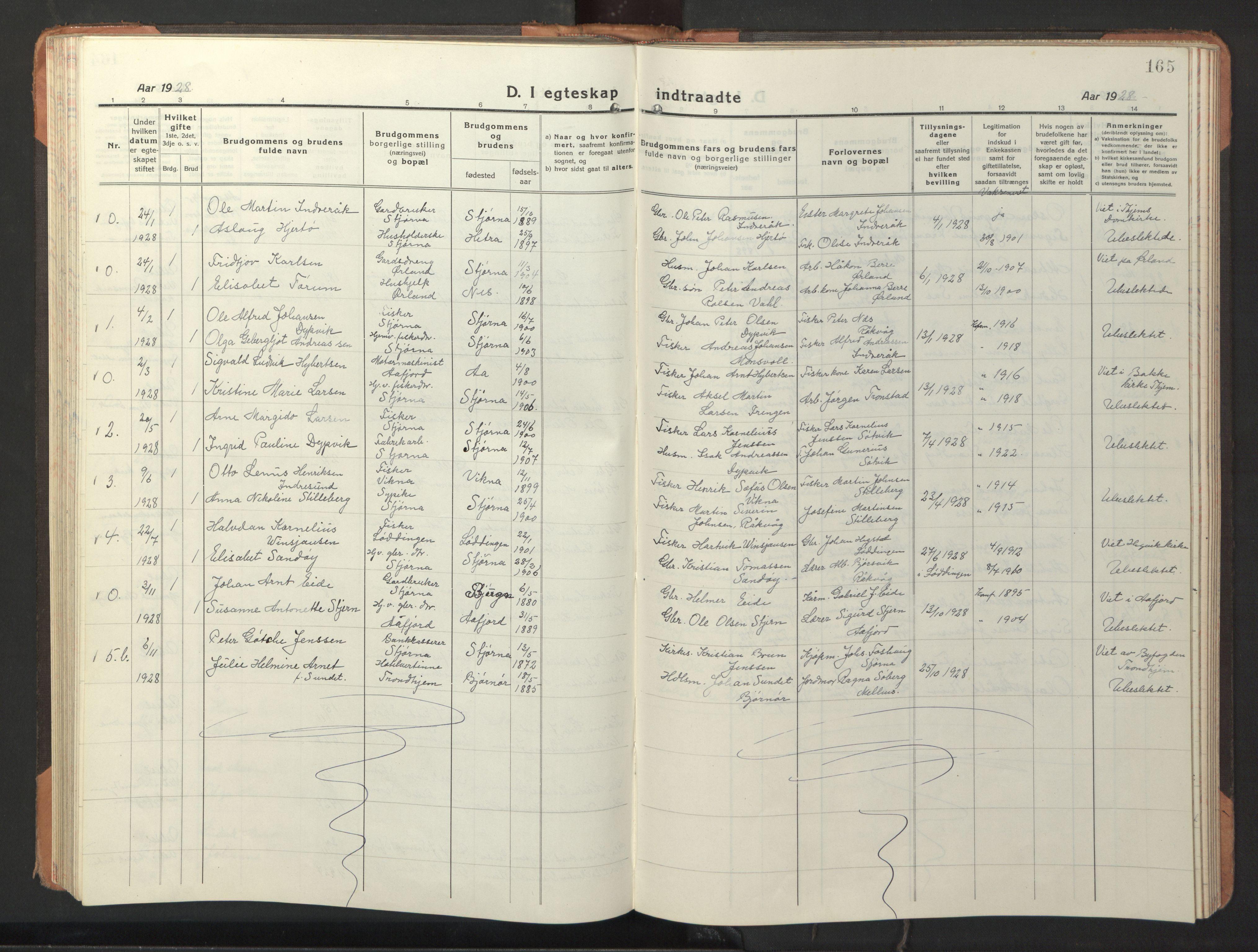 SAT, Ministerialprotokoller, klokkerbøker og fødselsregistre - Sør-Trøndelag, 653/L0658: Klokkerbok nr. 653C02, 1919-1947, s. 165