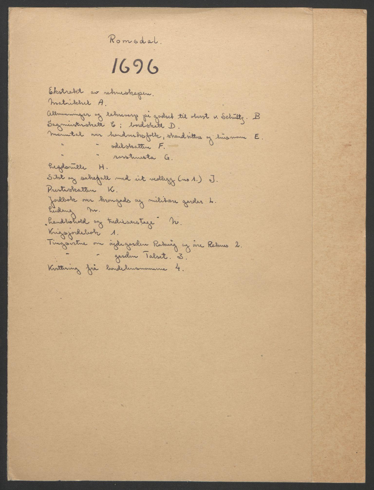 RA, Rentekammeret inntil 1814, Reviderte regnskaper, Fogderegnskap, R55/L3652: Fogderegnskap Romsdal, 1695-1696, s. 156