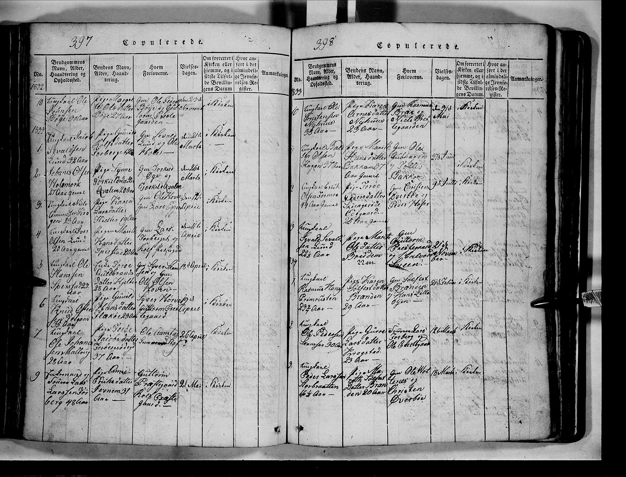 SAH, Lom prestekontor, L/L0003: Klokkerbok nr. 3, 1815-1844, s. 397-398