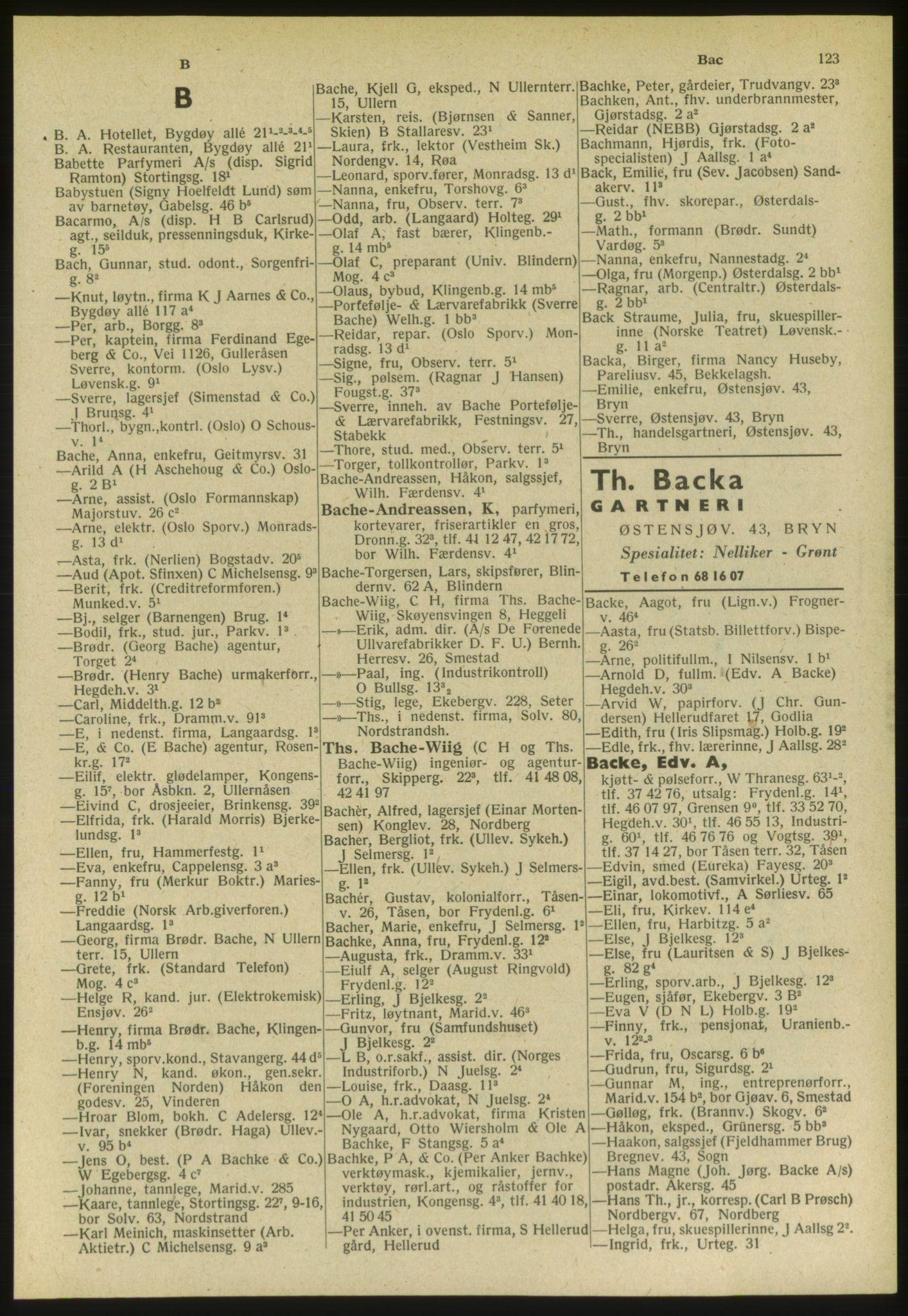 PUBL, Kristiania/Oslo adressebok, 1951, s. 123