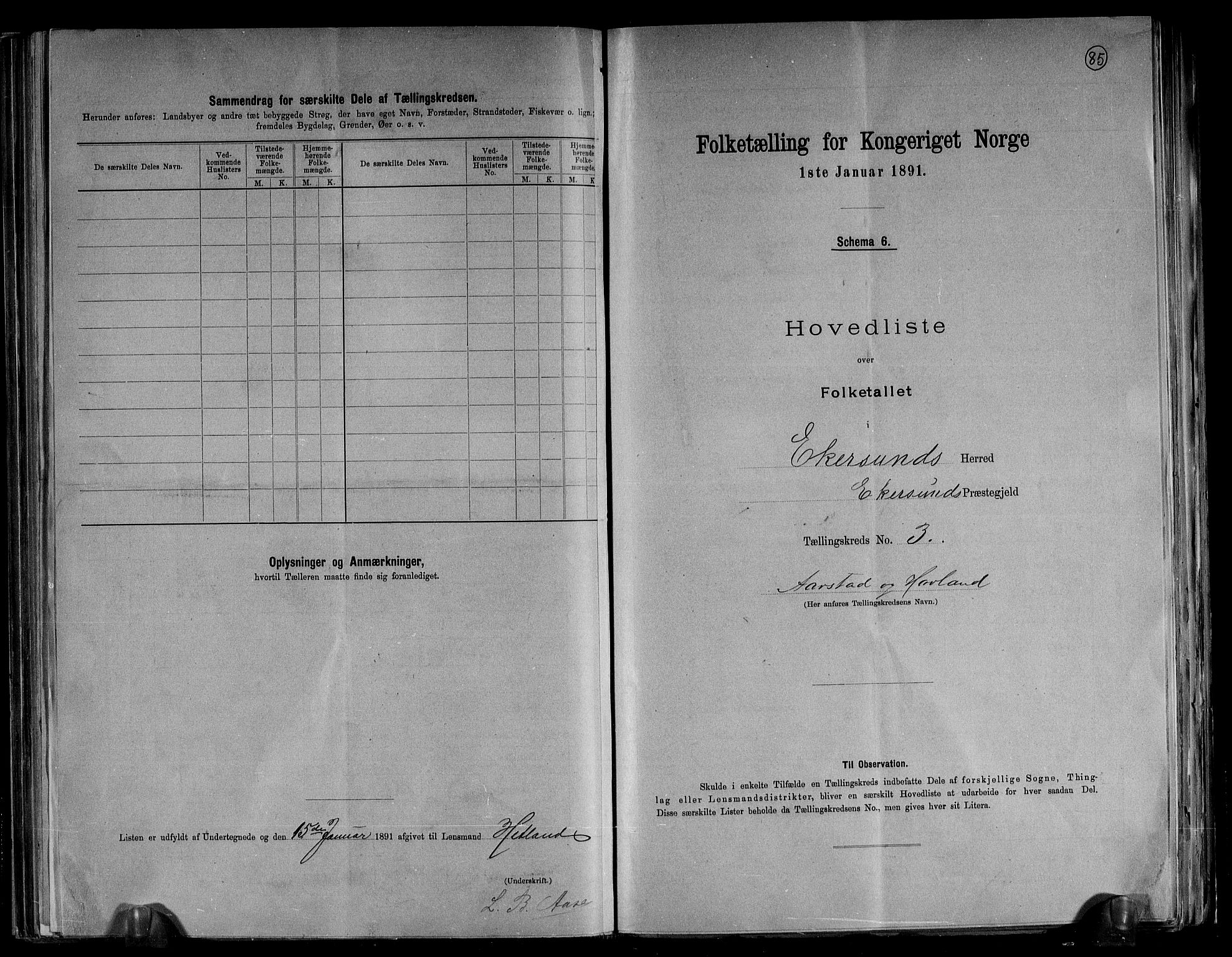 RA, Folketelling 1891 for 1116 Eigersund herred, 1891, s. 8