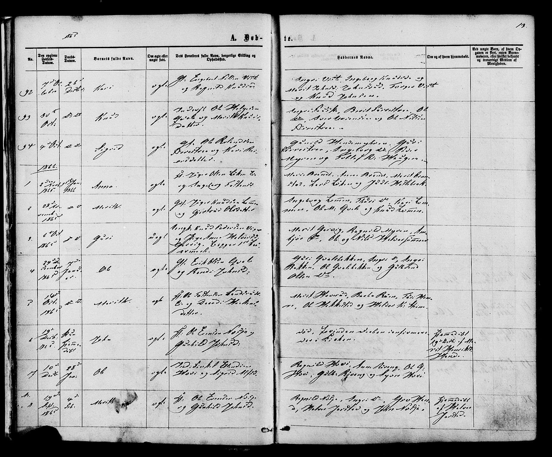 SAH, Vestre Slidre prestekontor, Ministerialbok nr. 3, 1865-1880, s. 13