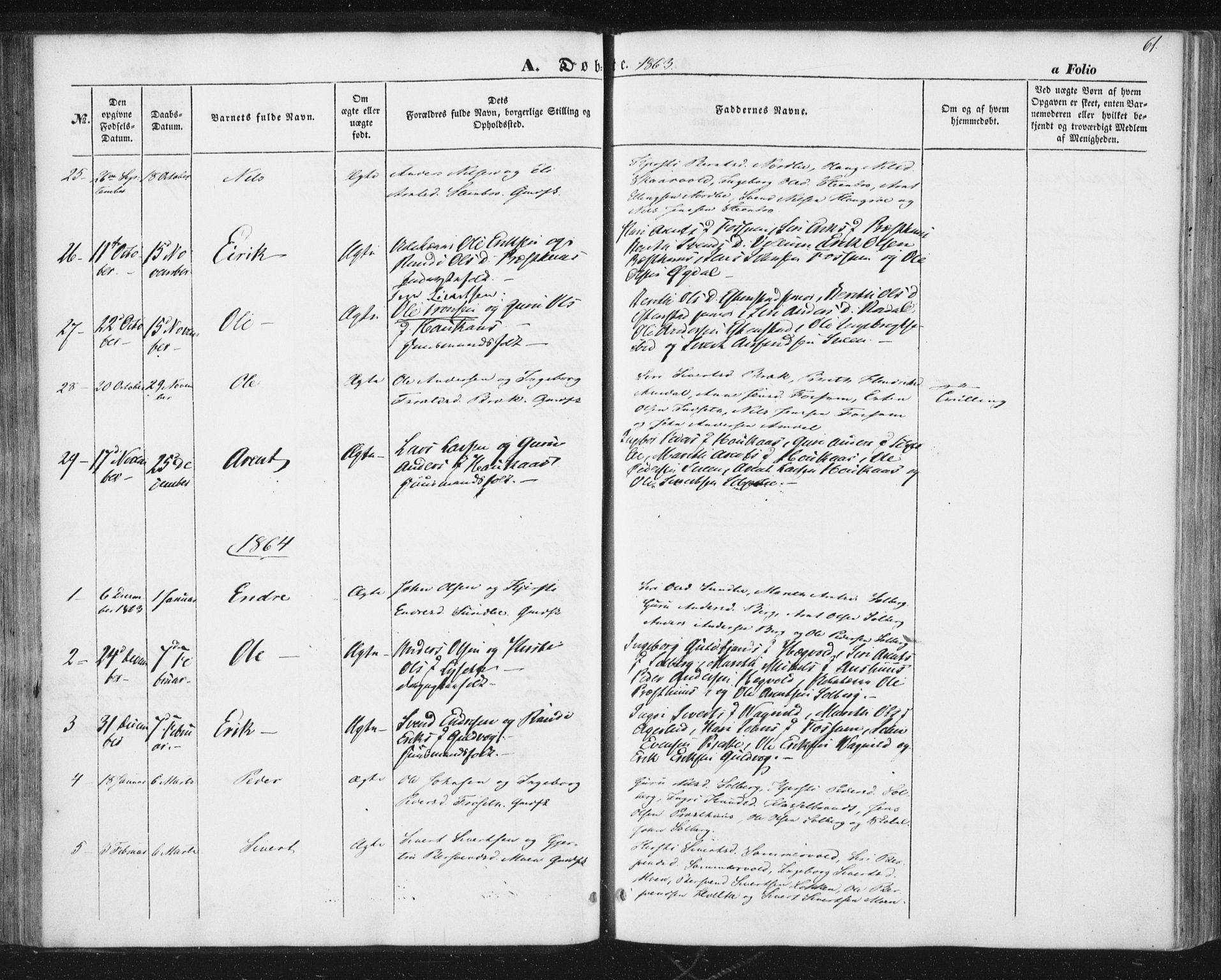 SAT, Ministerialprotokoller, klokkerbøker og fødselsregistre - Sør-Trøndelag, 689/L1038: Ministerialbok nr. 689A03, 1848-1872, s. 61