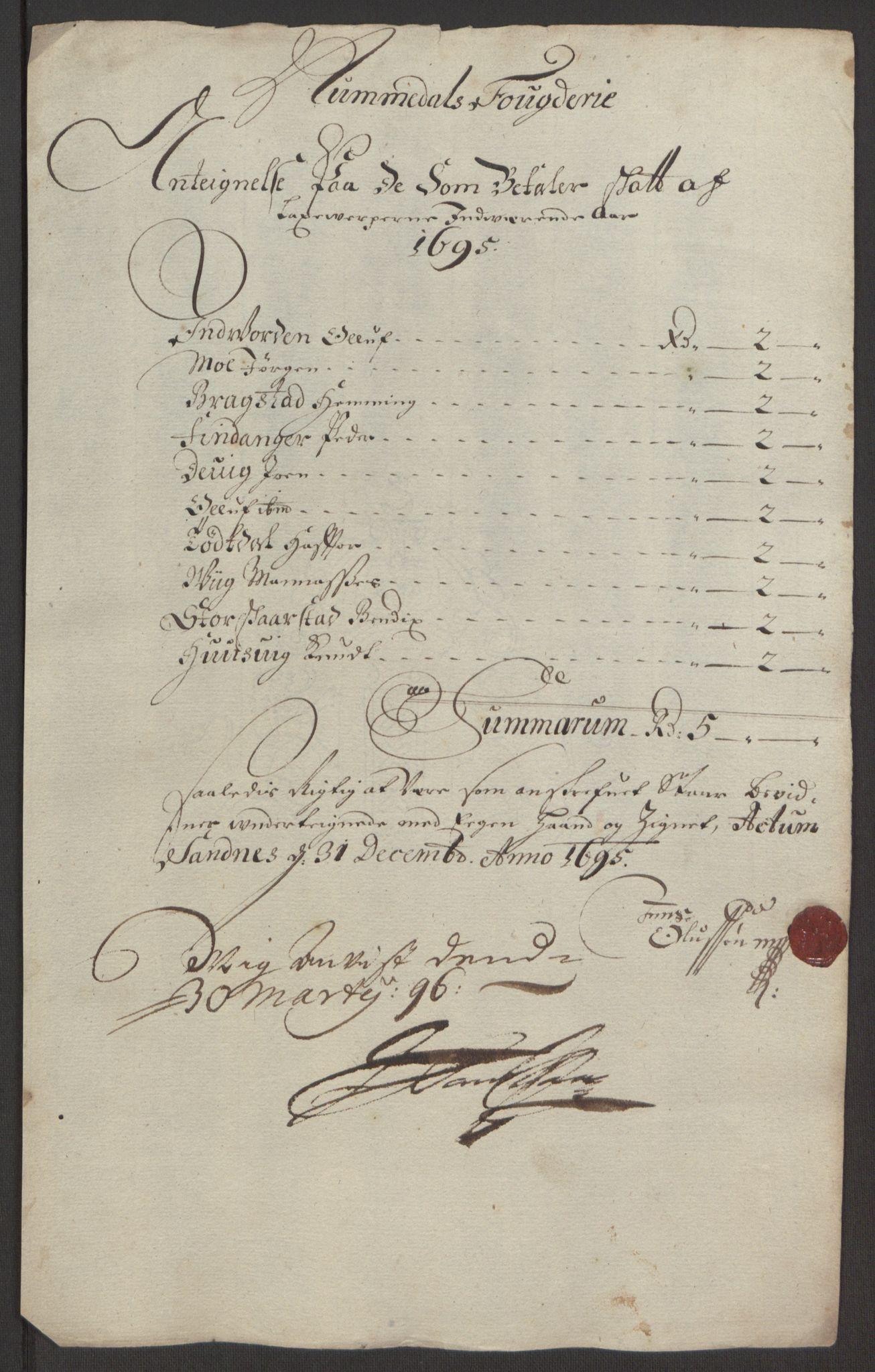 RA, Rentekammeret inntil 1814, Reviderte regnskaper, Fogderegnskap, R64/L4424: Fogderegnskap Namdal, 1692-1695, s. 460