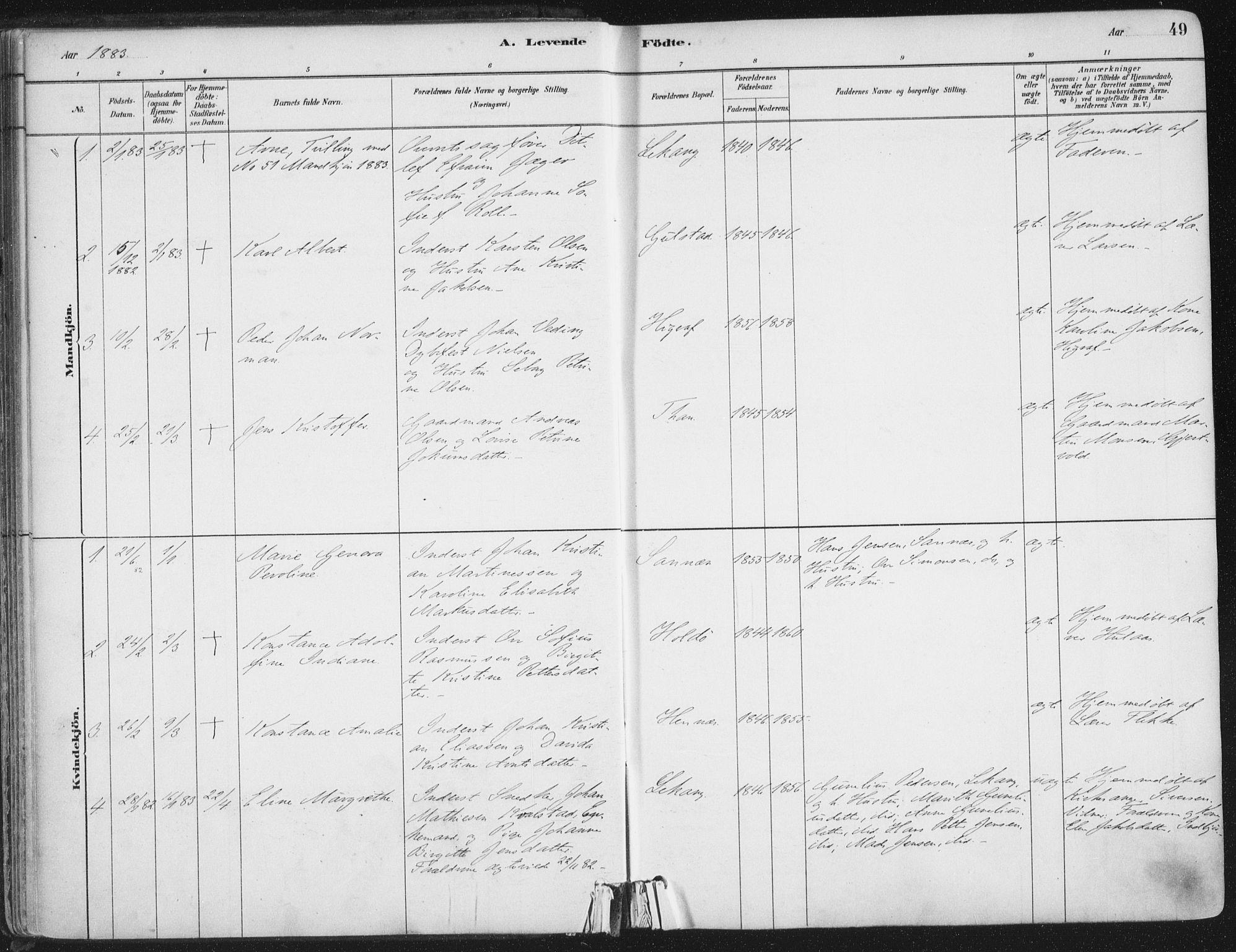 SAT, Ministerialprotokoller, klokkerbøker og fødselsregistre - Nordland, 888/L1244: Ministerialbok nr. 888A10, 1880-1890, s. 49