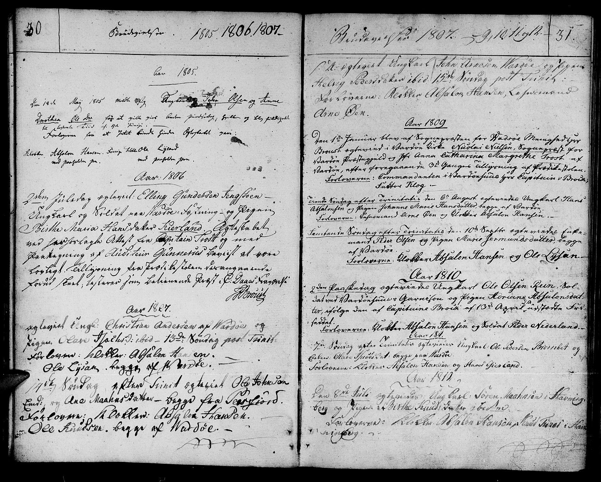 SATØ, Vardø sokneprestkontor, H/Ha/L0002kirke: Ministerialbok nr. 2, 1805-1842, s. 30-31
