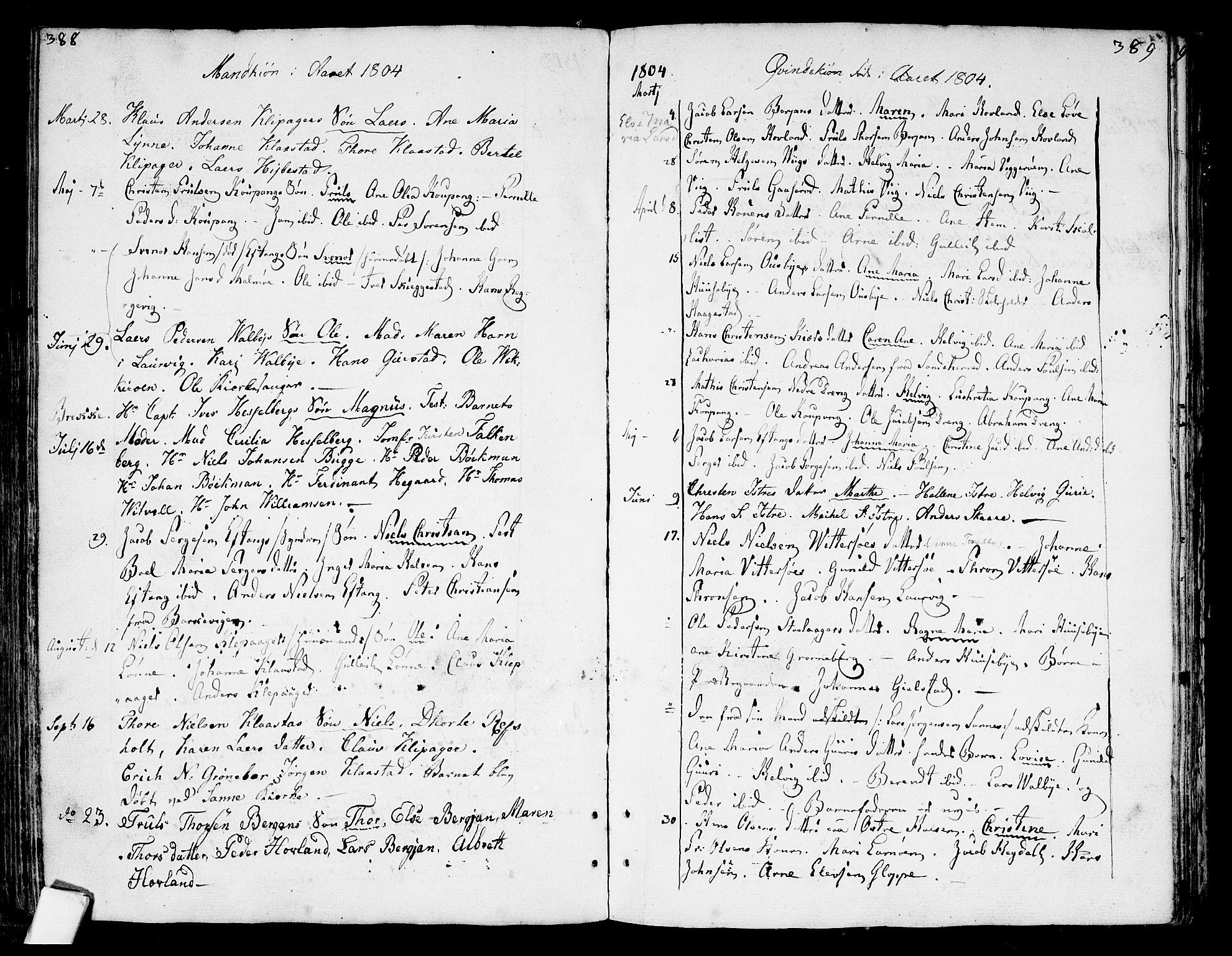 SAKO, Tjølling kirkebøker, F/Fa/L0004: Ministerialbok nr. 4, 1779-1817, s. 388-389