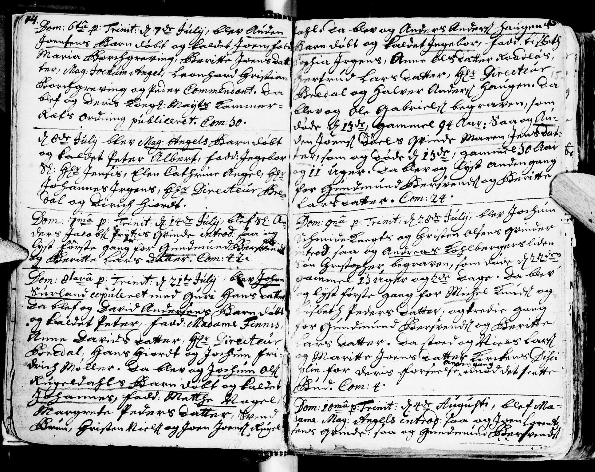 SAT, Ministerialprotokoller, klokkerbøker og fødselsregistre - Sør-Trøndelag, 681/L0924: Ministerialbok nr. 681A02, 1720-1731, s. 14-15