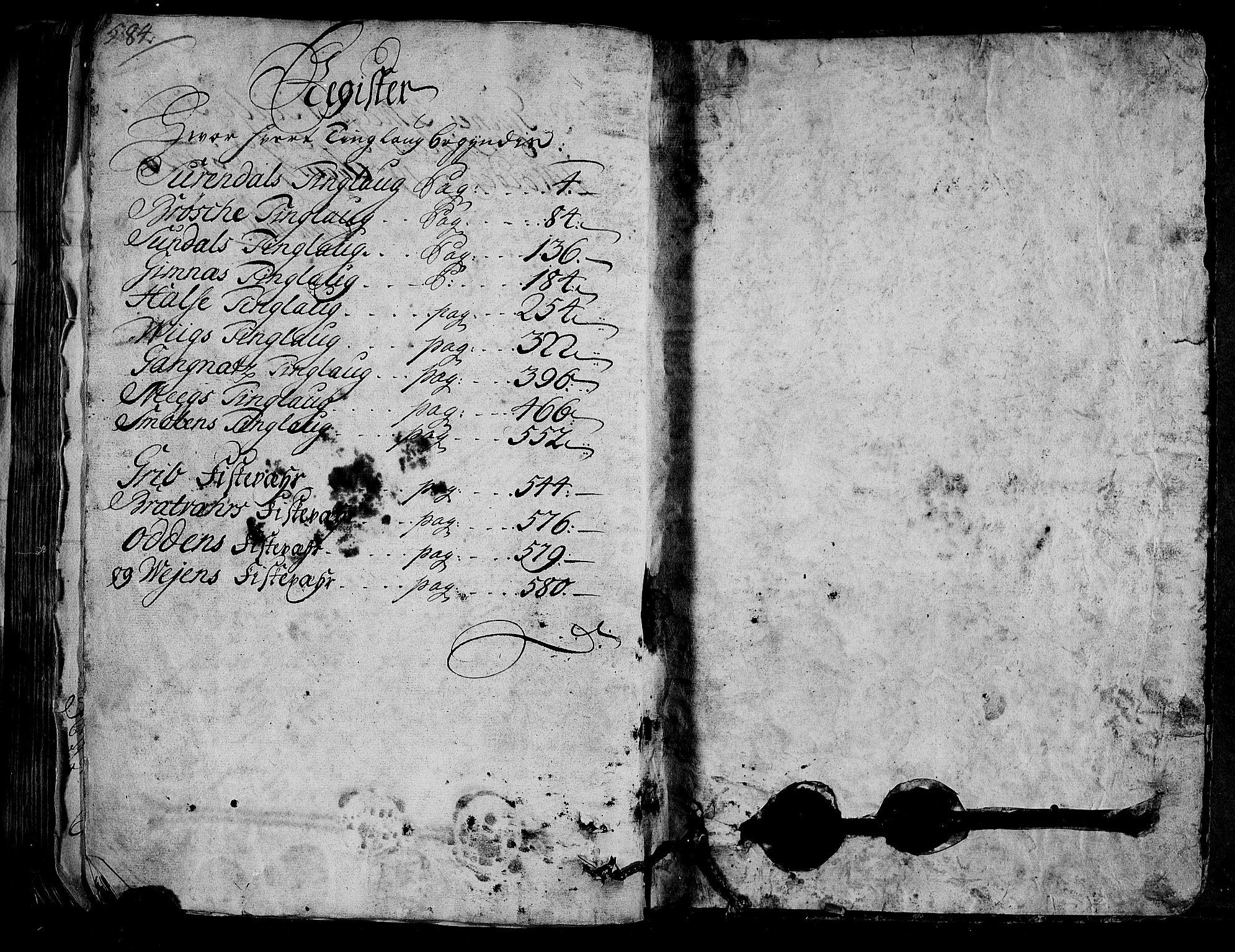 RA, Rentekammeret inntil 1814, Realistisk ordnet avdeling, N/Nb/Nbf/L0154: Nordmøre eksaminasjonsprotokoll, 1721-1723, s. 584-585