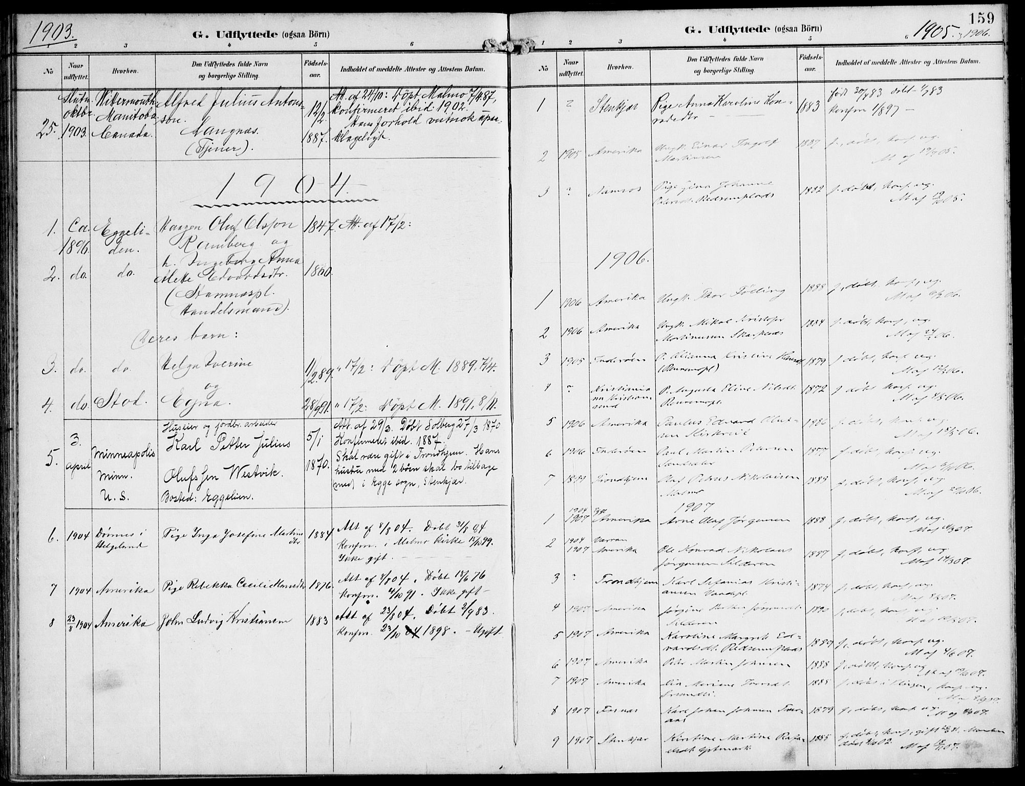 SAT, Ministerialprotokoller, klokkerbøker og fødselsregistre - Nord-Trøndelag, 745/L0430: Ministerialbok nr. 745A02, 1895-1913, s. 159